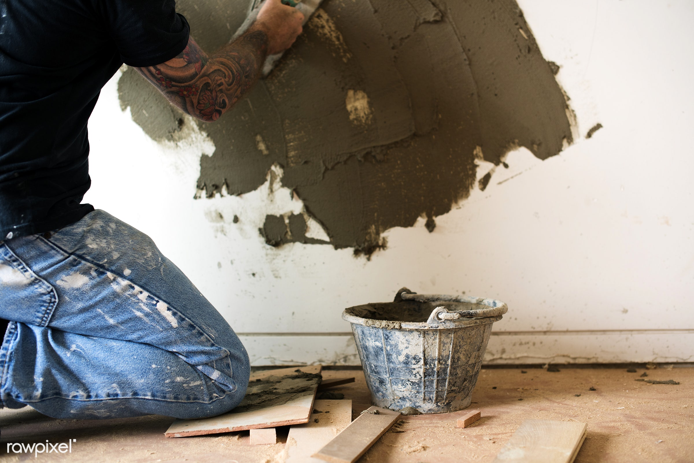 indoor, tool, equipment, grout, plaster, mortar, worker, repair, cement, tattoo, renovation, construction, man, work,...