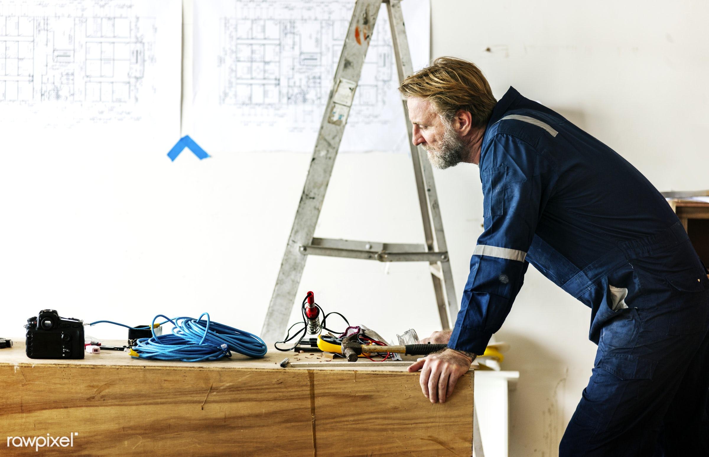 Construction worker - american, architect, architectural, architecture, blueprint, british, build, construction, design,...