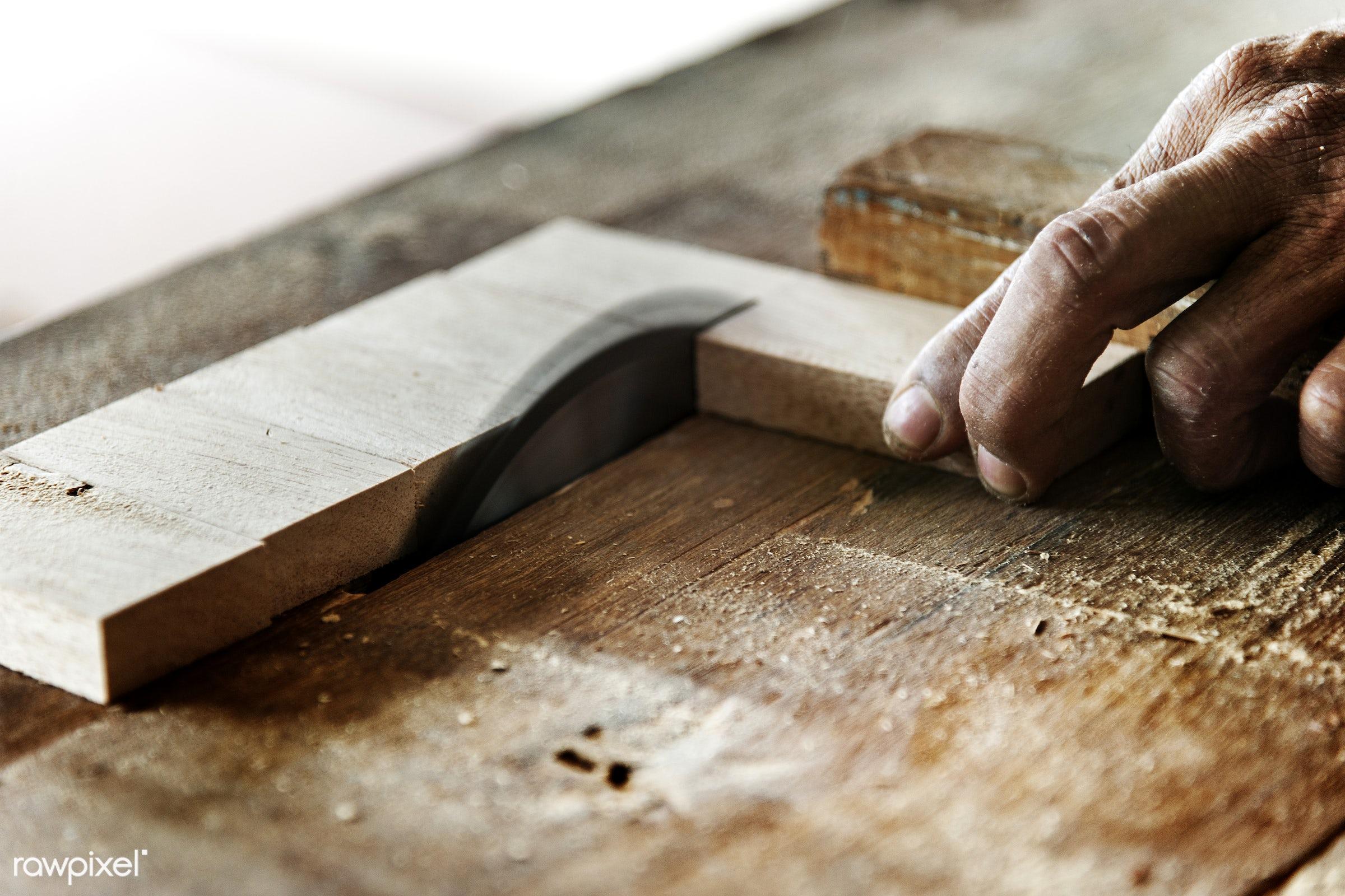 Wood cutting using circular saw - craft, wood, carpentry, tool, plank, equipment, diy, carpenter, handyman, craftsman,...