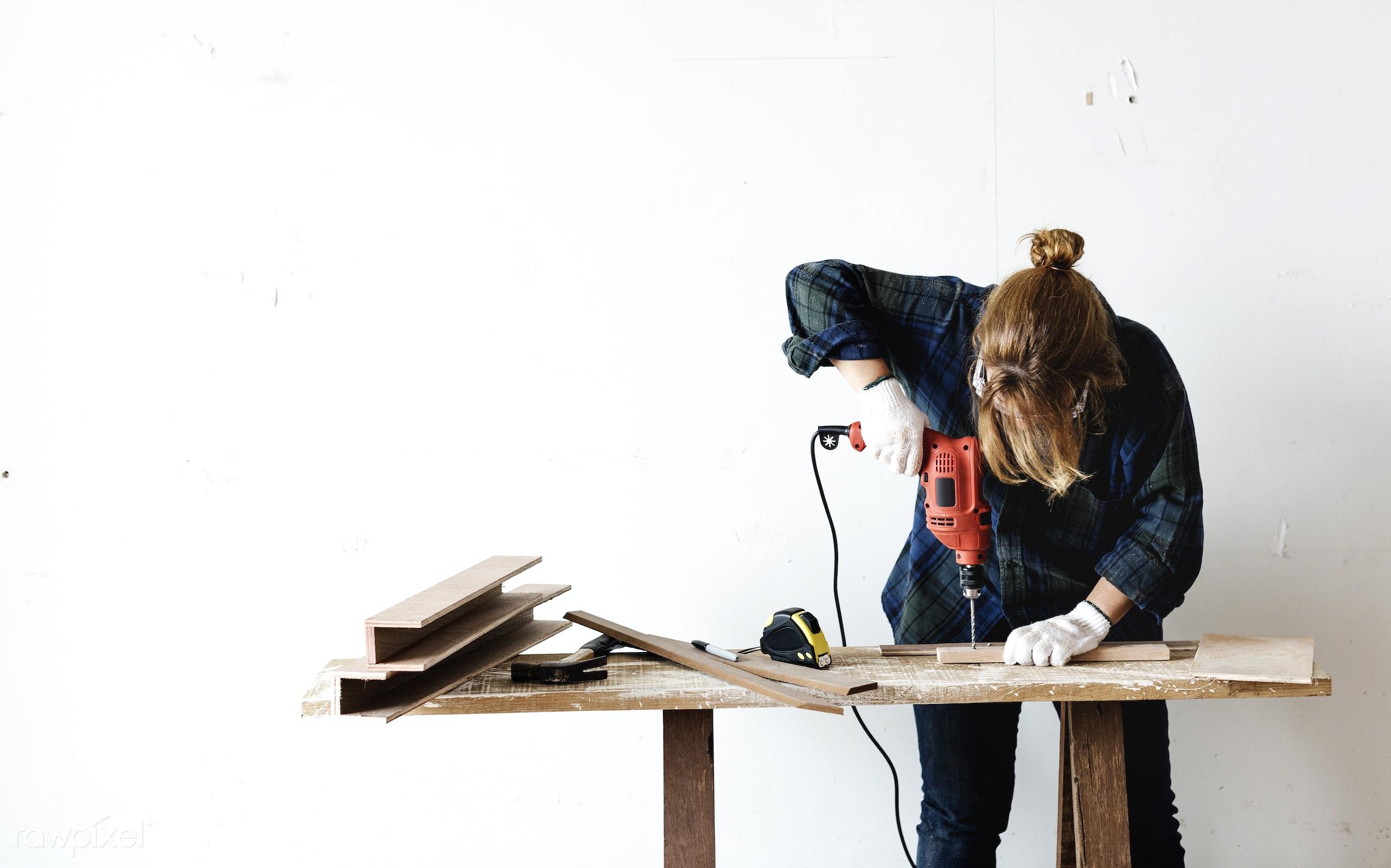 craft, wood, carpentry, tool, plank, equipment, diy, carpenter, woman, handyman, craftsman, worker, drill, repair, industry...