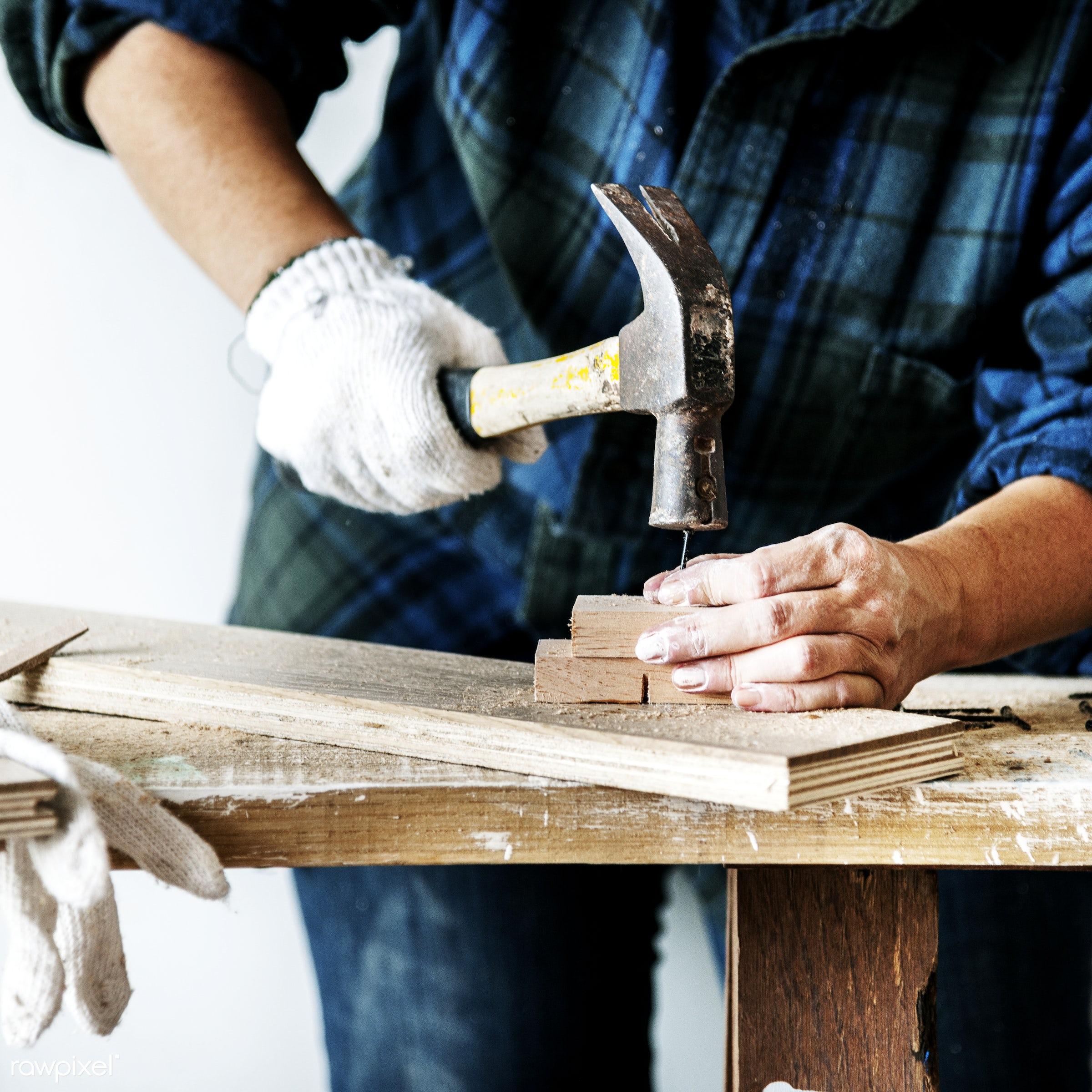 craft, wood, carpentry, tool, plank, equipment, hammer, diy, carpenter, woman, craftsman, handyman, worker, repair, industry...