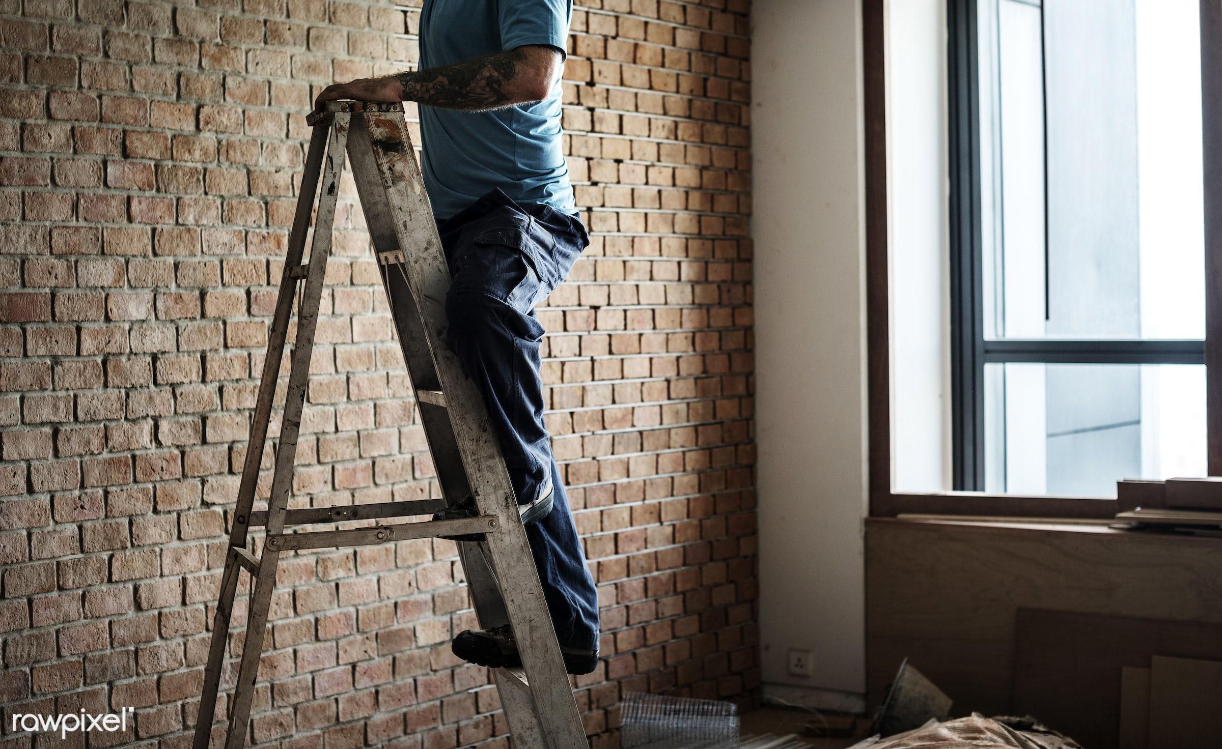 brick, equipment, build, tools, materials, handyman, craftsman, worker, repair, workman, working, tattoo, ladder, renovating...