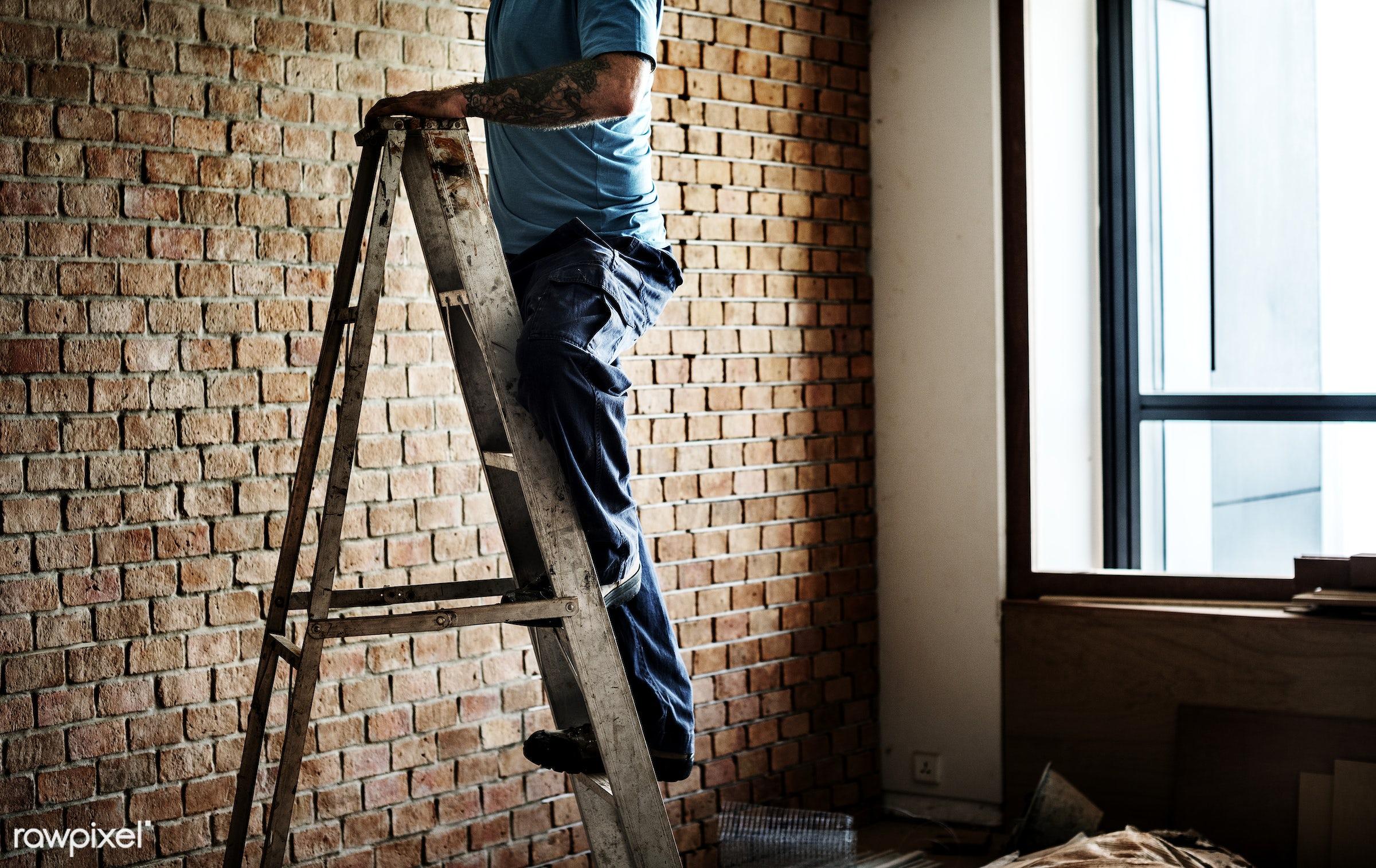 brick, equipment, build, tools, materials, handyman, craftsman, worker, repair, workman, working, tattoo, man, ladder,...
