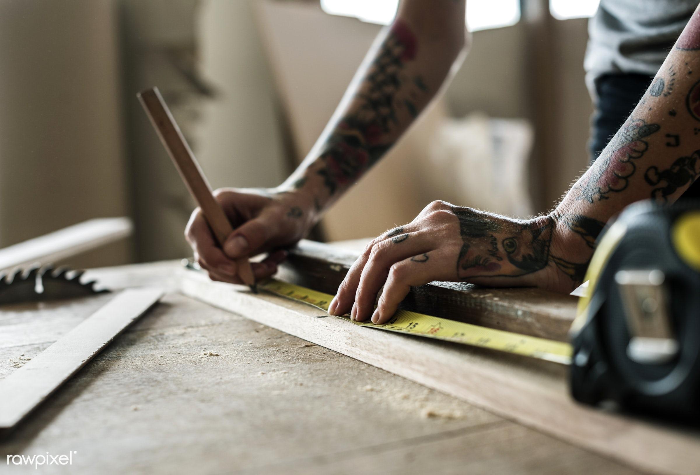 craft, wood, carpentry, tool, plank, equipment, diy, carpenter, handyman, craftsman, worker, repair, tattoo, industry,...