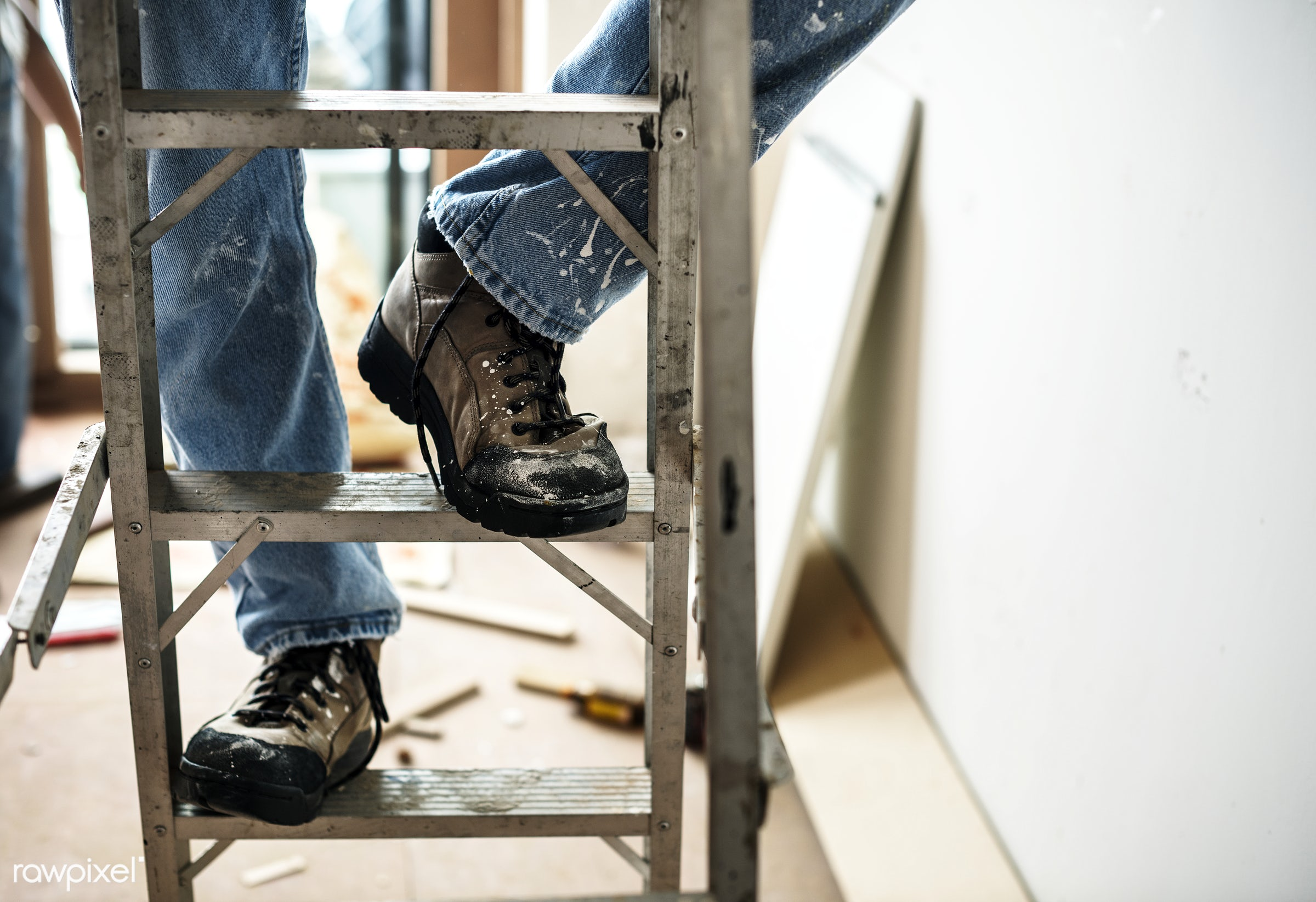 Construction worker - workman, build, builder, construction, craftsman, equipment, handyman, laborer, ladder, materials,...