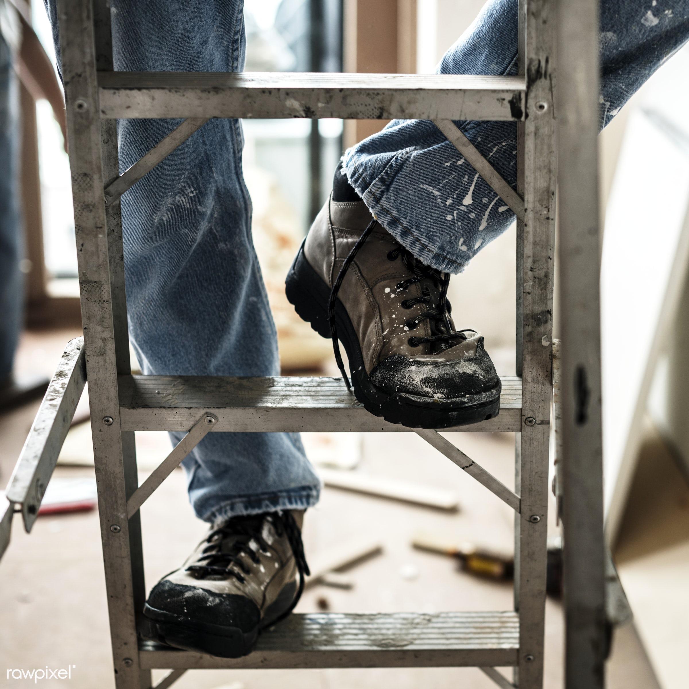 ladder, renovating, builder, equipment, build, tools, materials, craftsman, handyman, worker, laborer, repair, workman,...