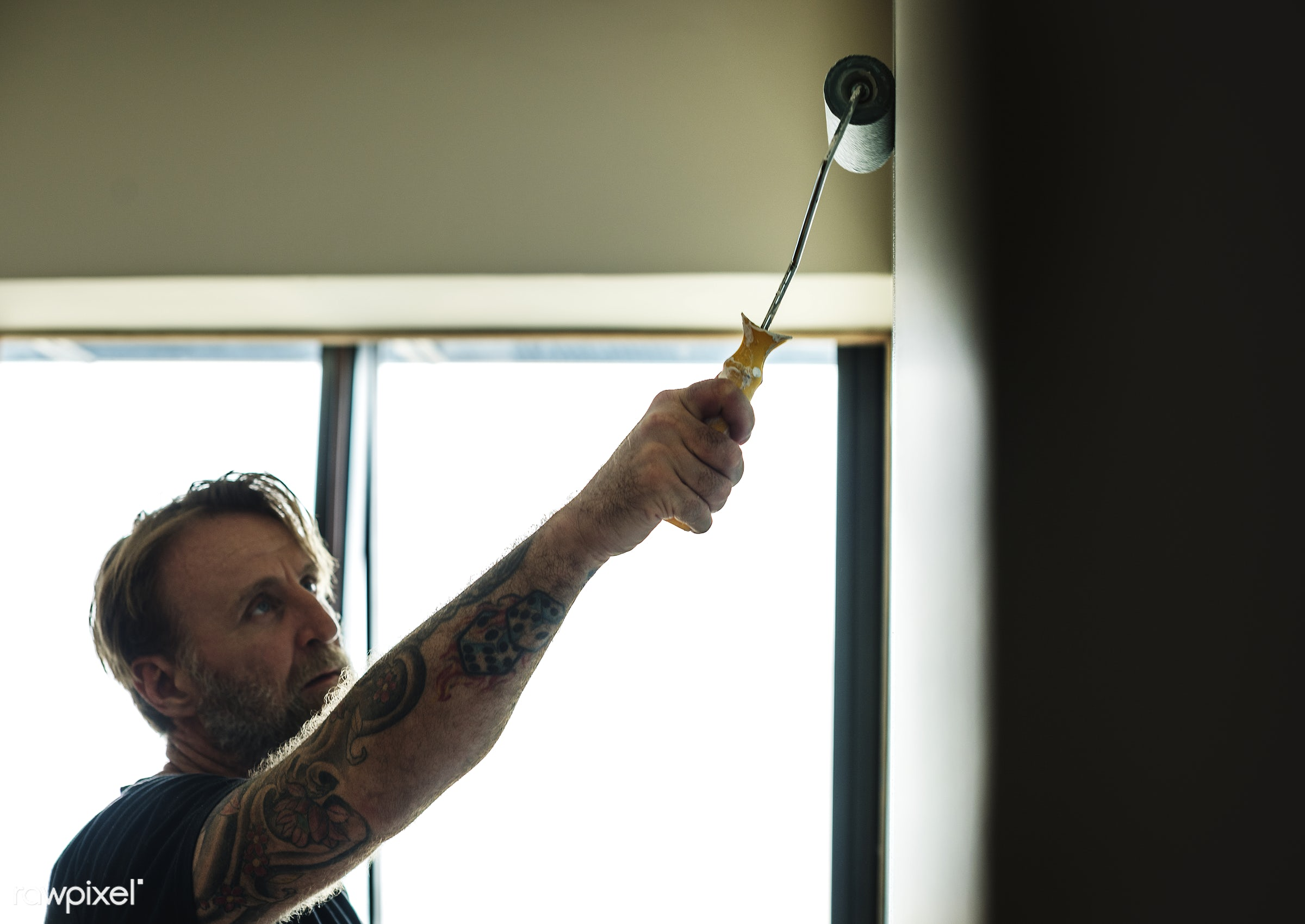 Construction worker painting the wall - interior, home, indoor, tool, house, space, diy, decor, roller, colored, painter,...