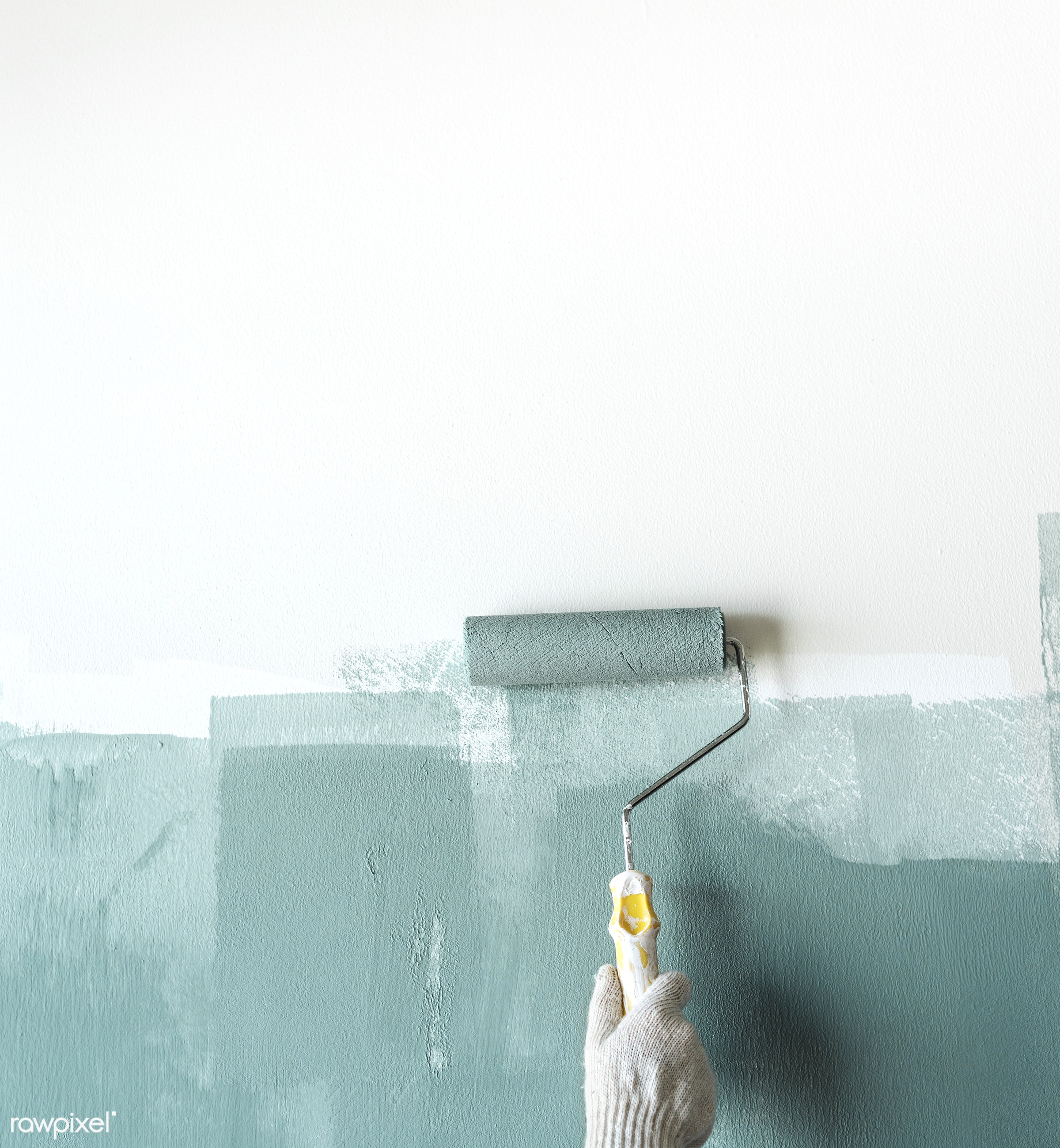 Construction worker painting the wall - interior, home, indoor, tool, house, space, diy, roller, decor, colored, painter,...