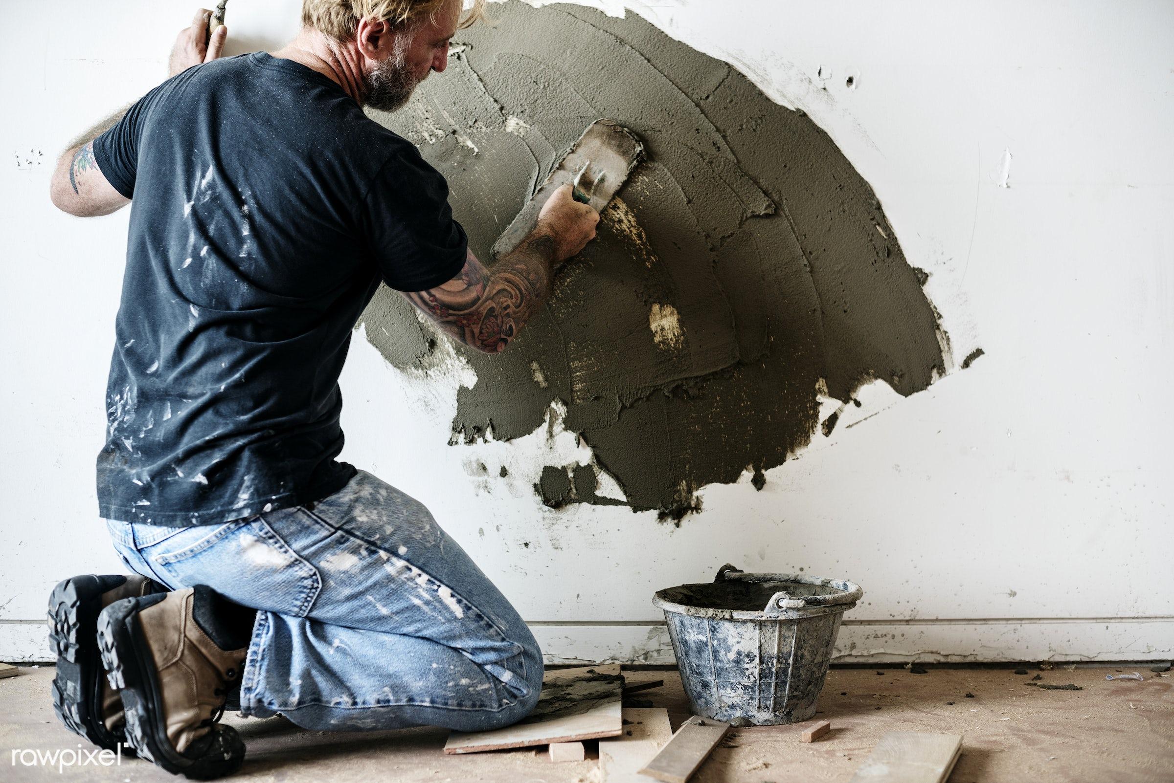 repair, work, construction, cement, concrete, equipment, grout, indoor, job, man, mason, material, mortar, plaster,...