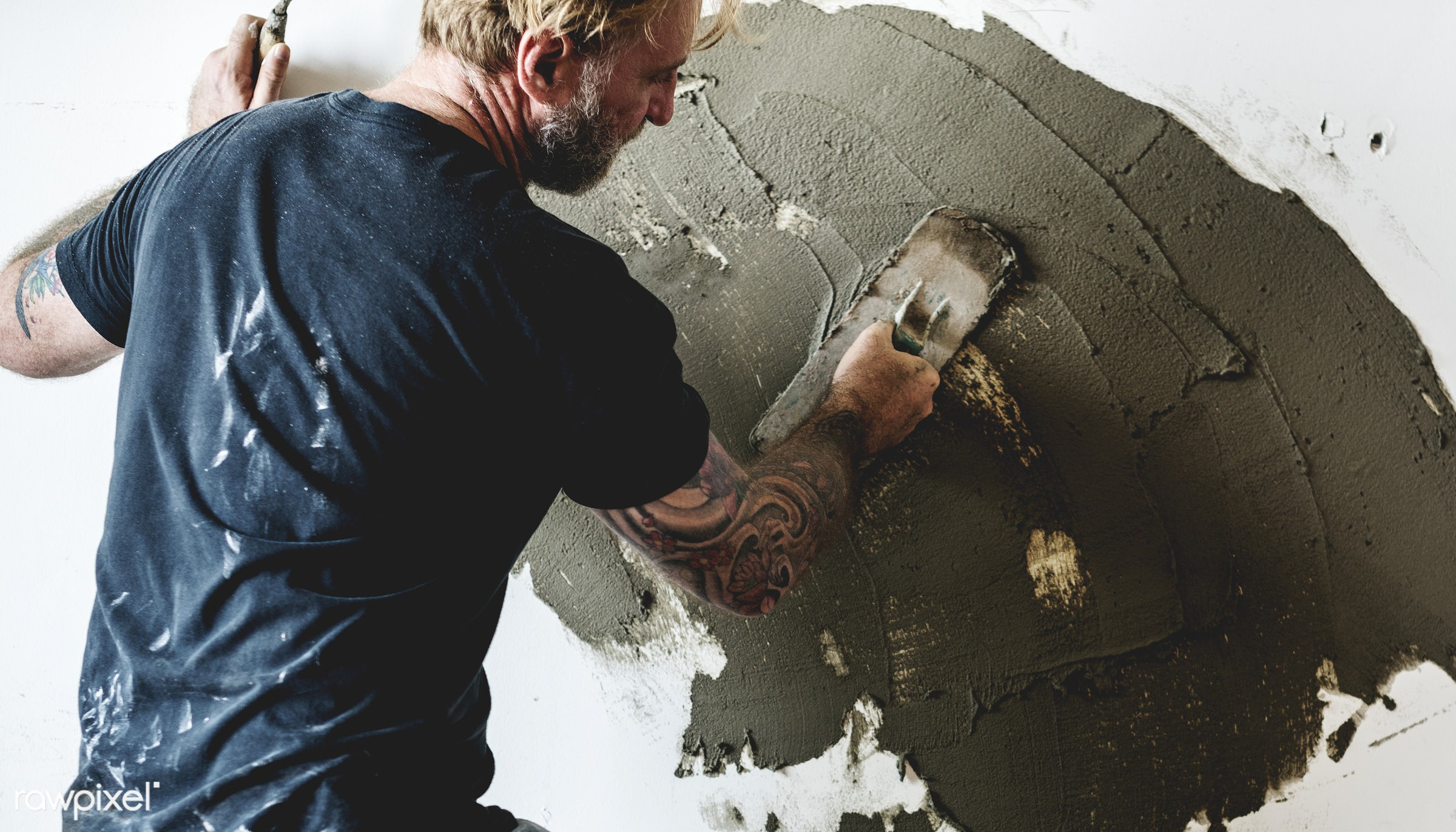 Construction worker - indoor, tool, equipment, grout, plaster, mortar, worker, repair, cement, renovation, construction, man...