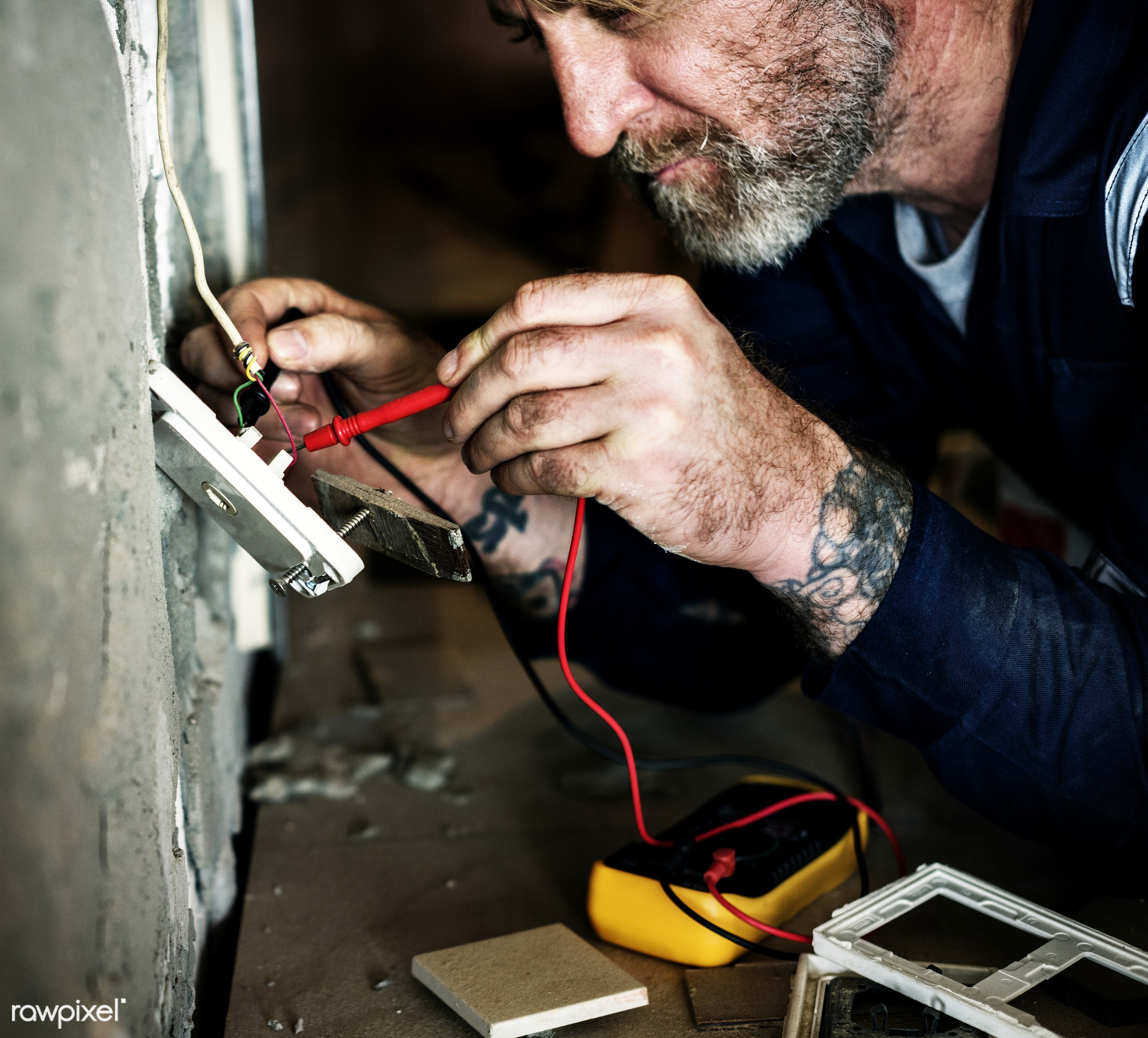 Electrician working - craft, wood, tool, equipment, house, technical, installation, handyman, repair, industry, renovation,...