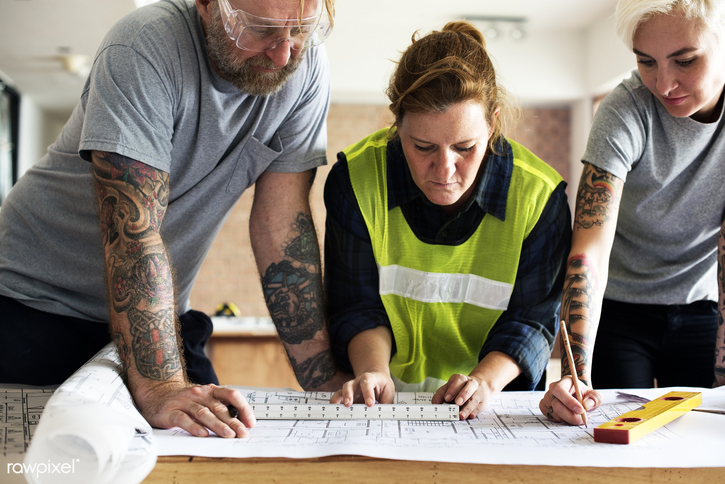 interior, model, paper, architecture, build, engineering, drawing, document, woman, tattoo, construction, man, structure,...