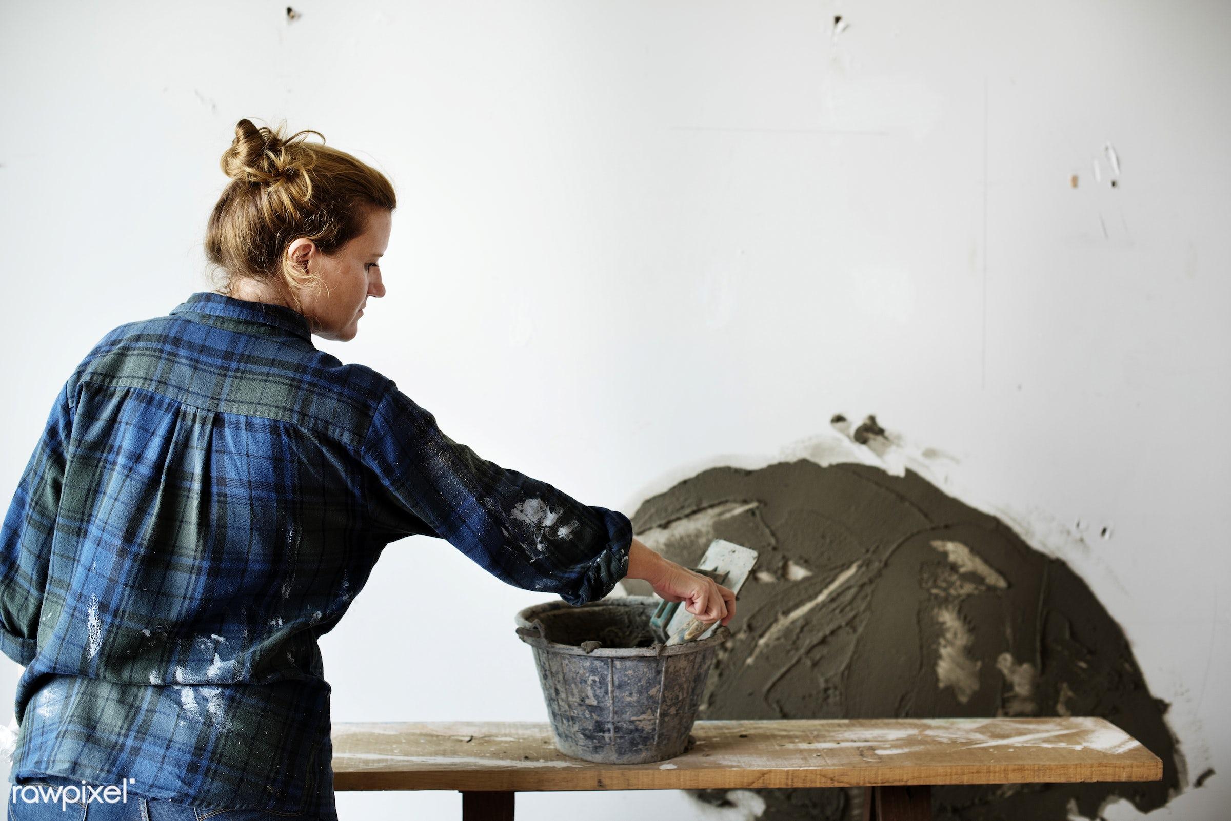 indoor, tool, equipment, grout, woman, plaster, mortar, worker, repair, cement, renovation, construction, work, plastering,...