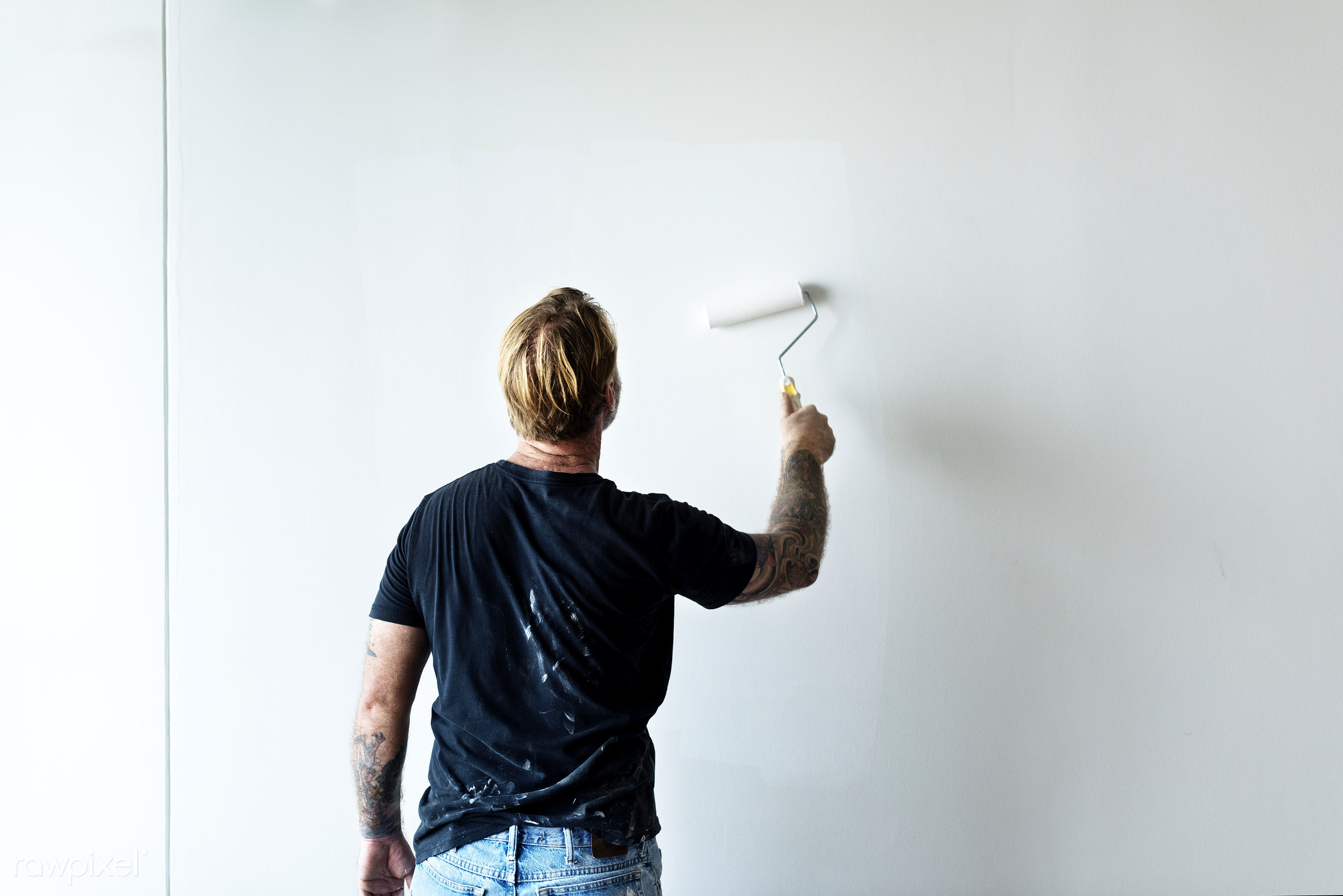 Construction worker painting the wall - paint, house, renovation, man, painter, job, home, space, color, house painting,...
