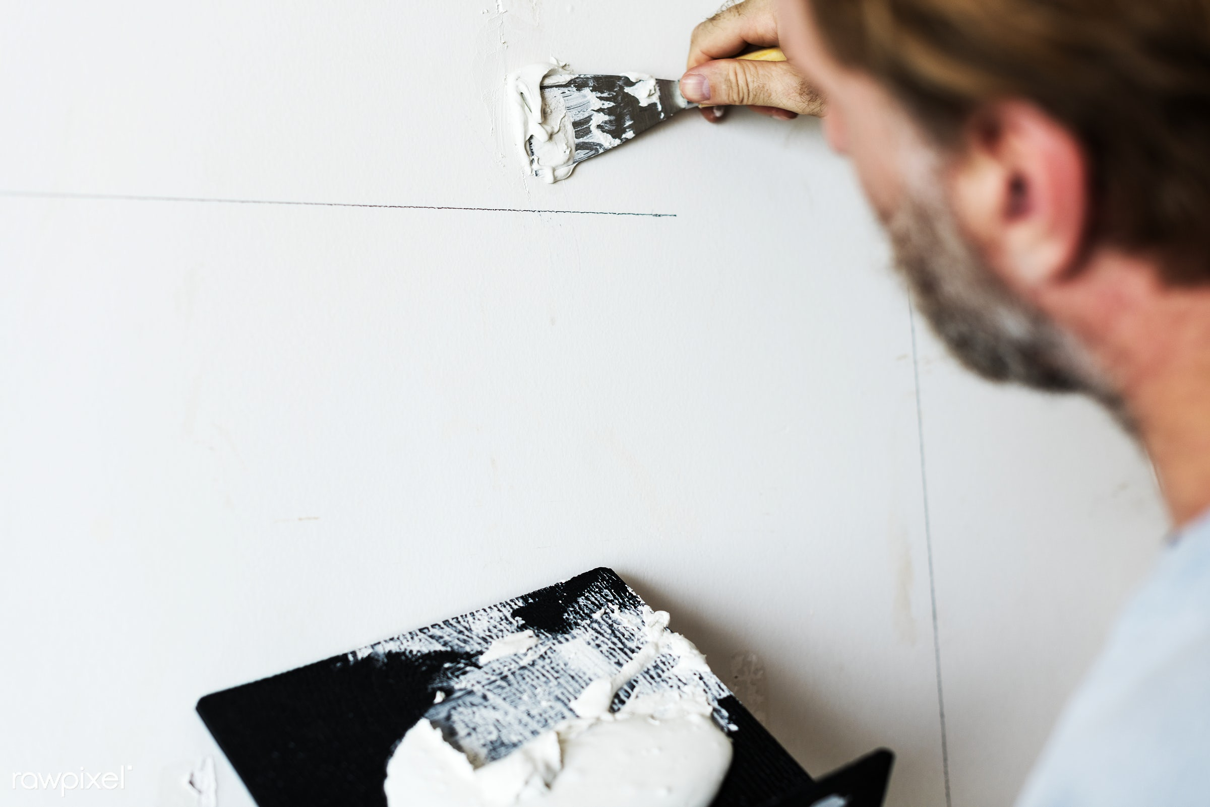 Construction worker painting the wall - interior, home, indoor, tool, house, space, diy, decor, colored, painter, decorating...