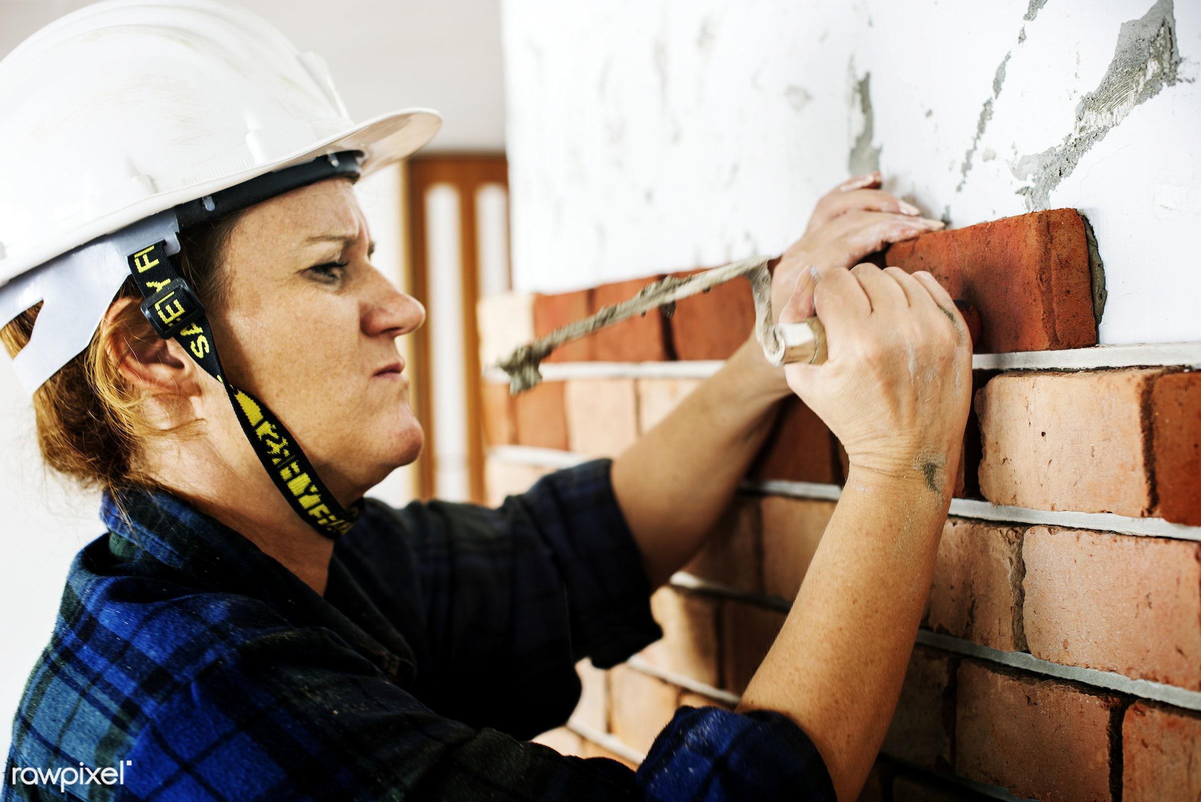 renovation, brick, cement, concrete, construction, equipment, grout, helmet, indoor, job, mason, material, plaster,...