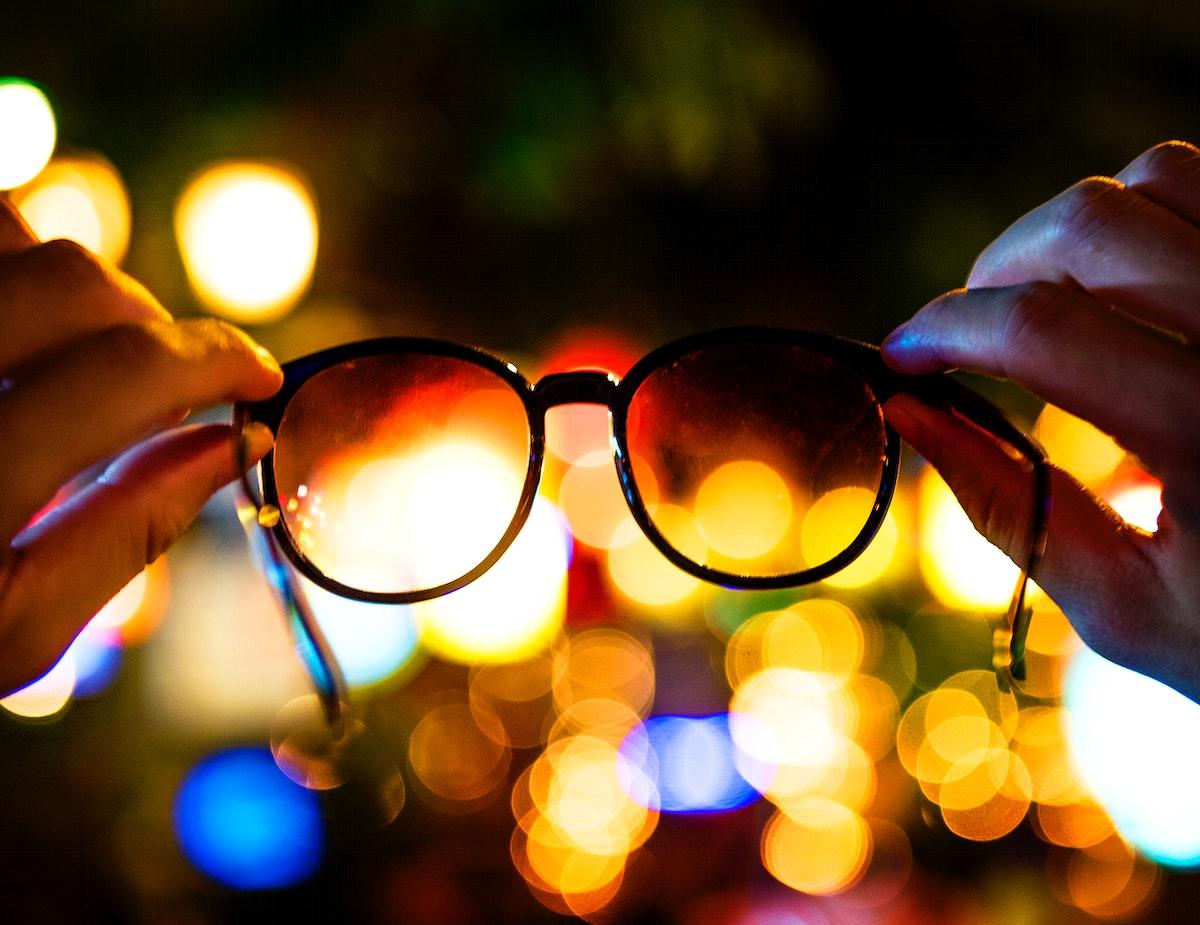 Eyeglasses with blurred lights background