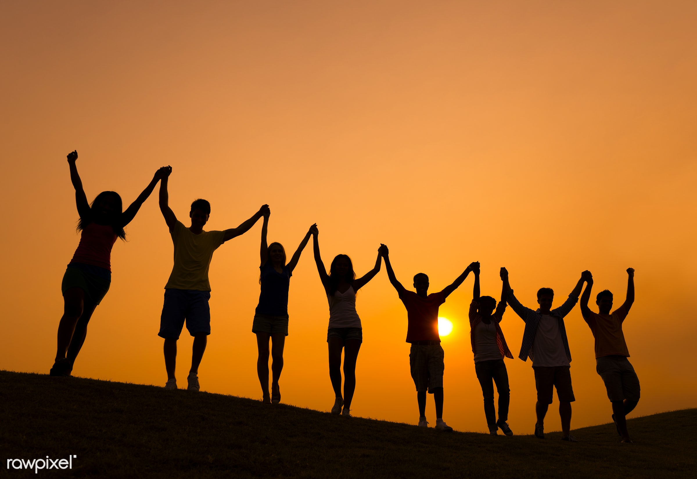 achievement, arms outstretched, arms raised, casual, celebration, cheerful, color image, community, confidence, cooperation...