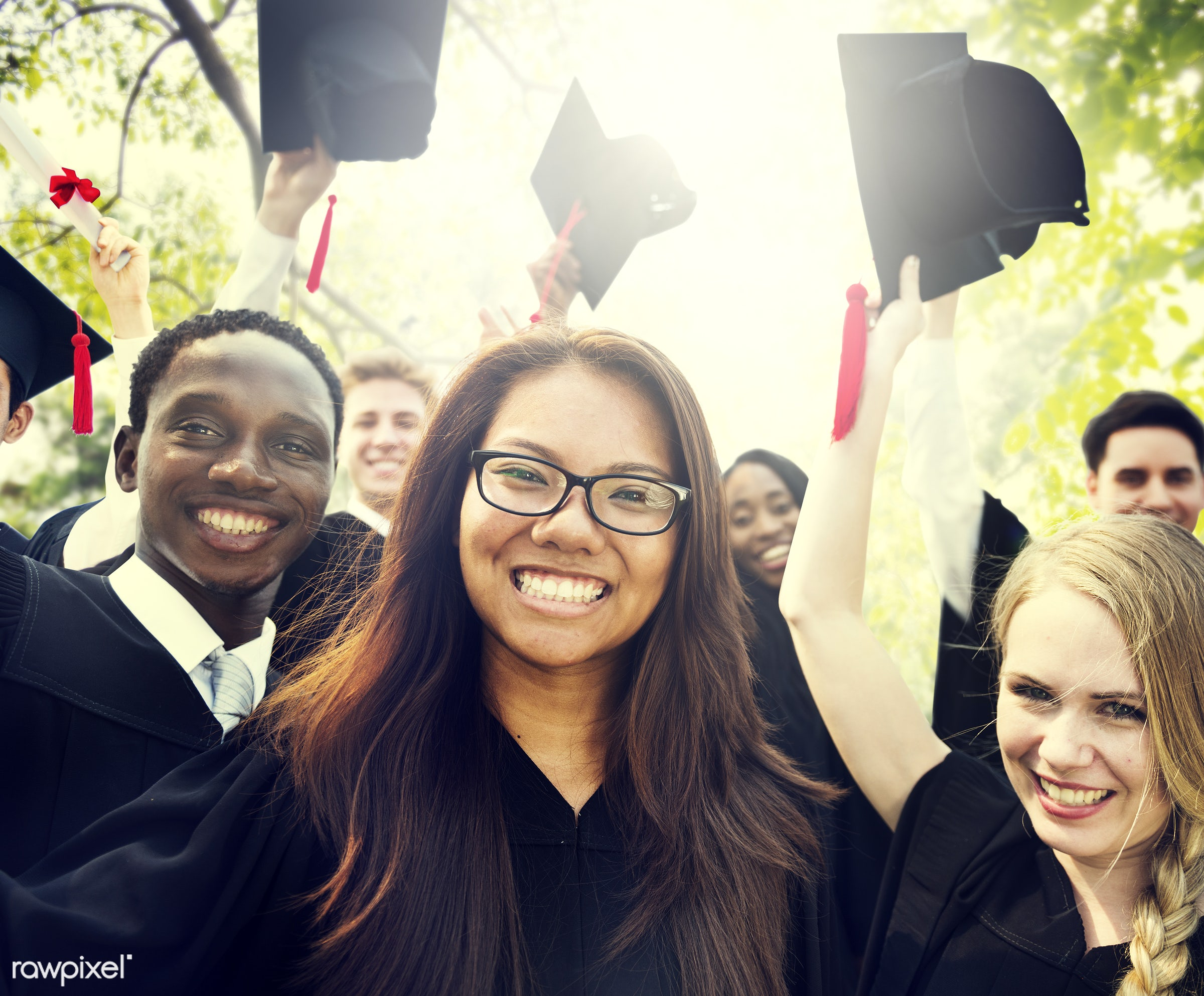achievement, african descent, asian ethnicity, cap, celebration, ceremony, certificate, cheerful, college, college student,...