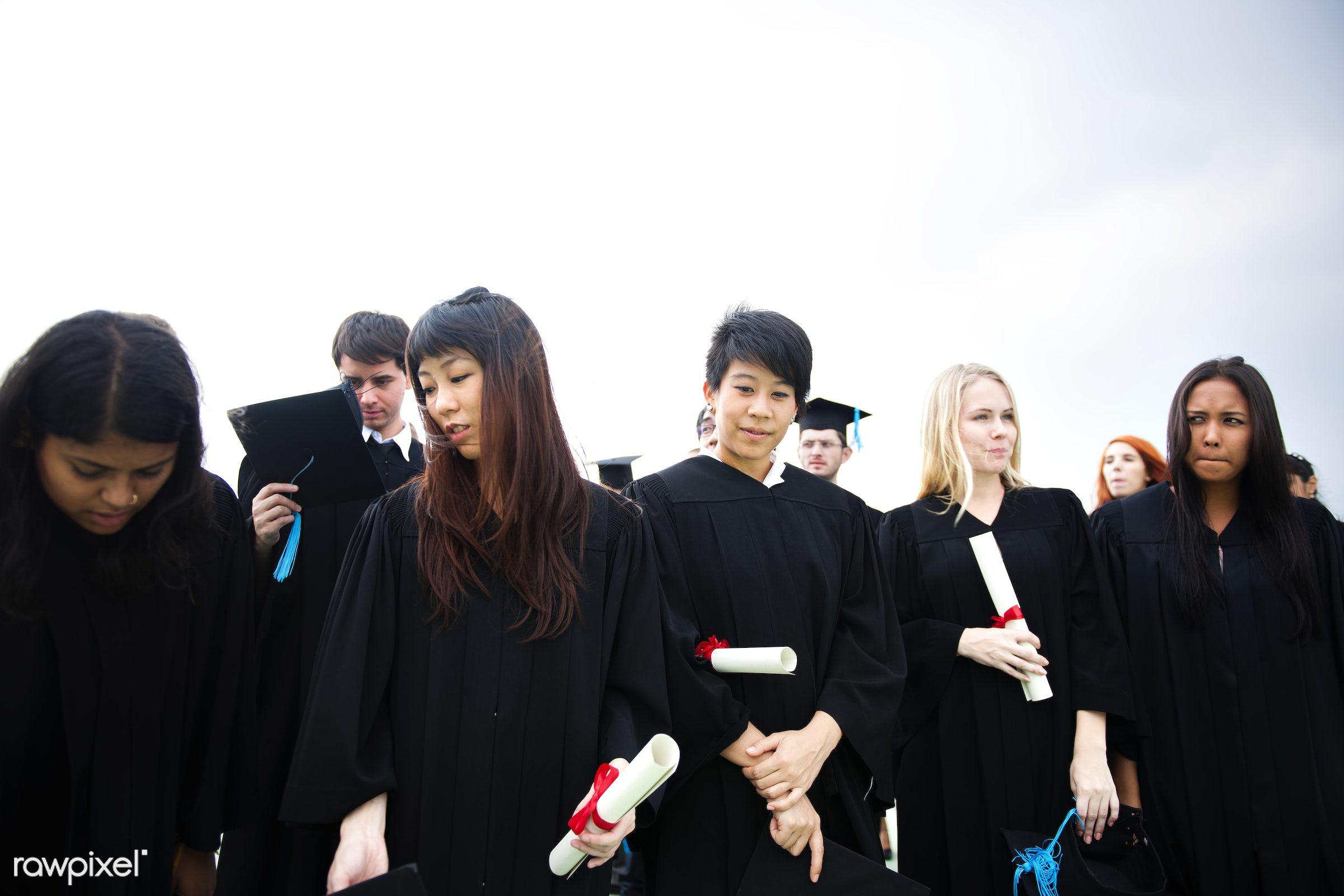 african descent, asian, black, caps, caucasian, ceremony, congratulations, diversity, expression, face, gowns, grads,...