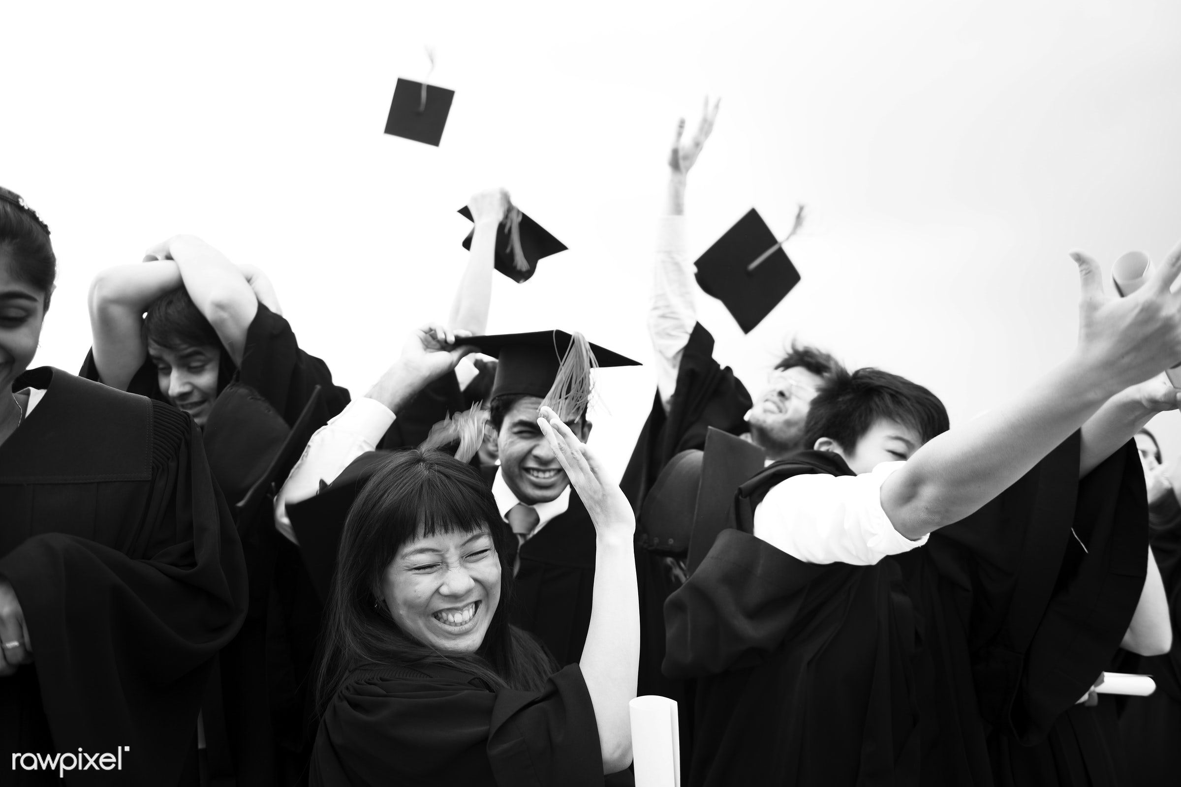 Group of diverse graduating students - college, black, face, graduation, african descent, asian, black and white, caps,...