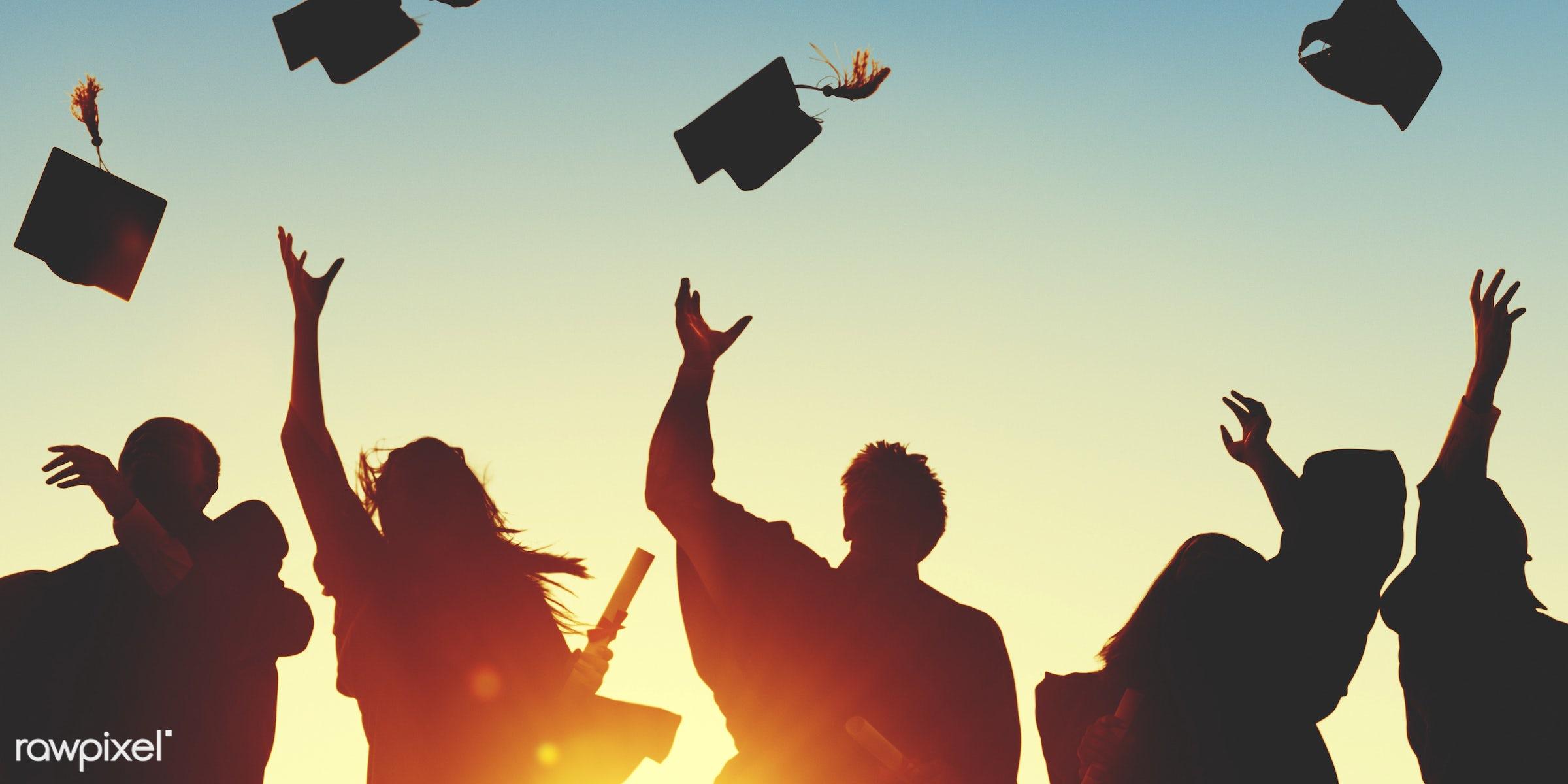 graduation, academic, achievement, back lit, campus, cap, celebration, ceremony, certificate, cheerful, college, college...