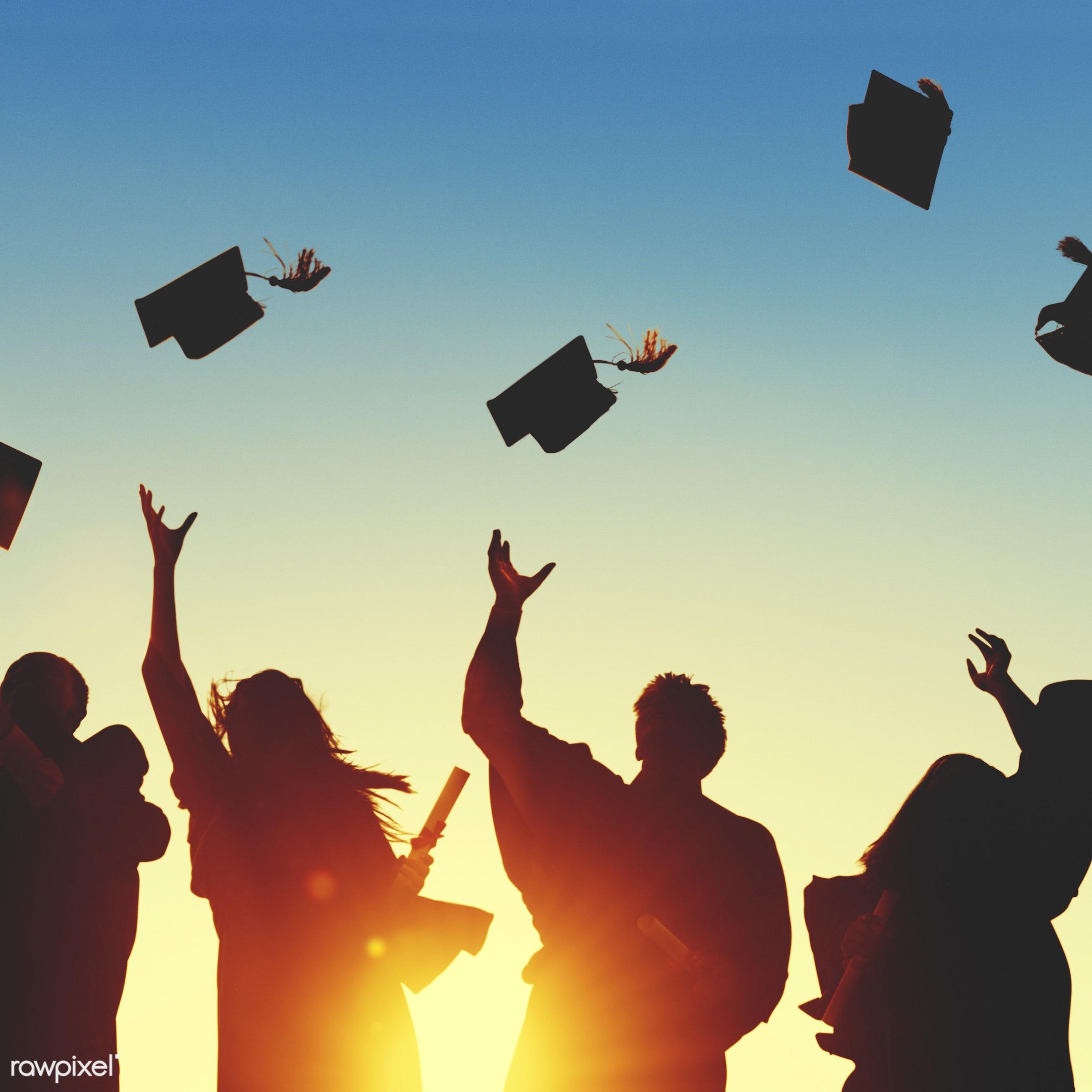 academic, achievement, back lit, campus, cap, celebration, ceremony, certificate, cheerful, college, college student,...