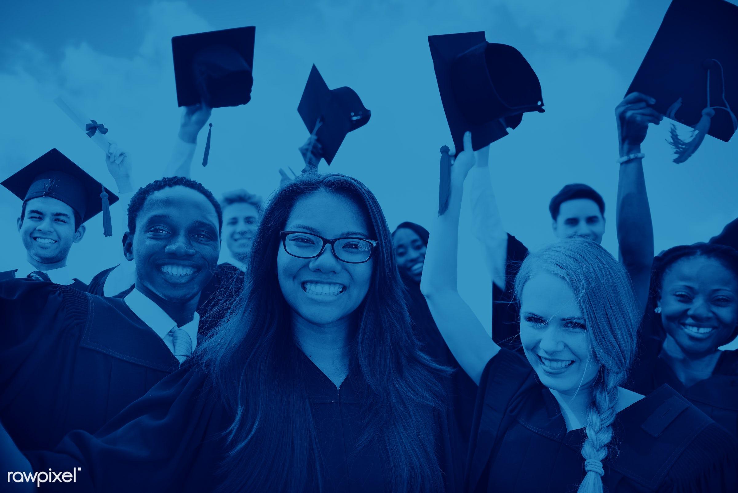graduation, academic, achievement, black, campus, celebration, ceremony, certificate, cheerful, college, college student,...