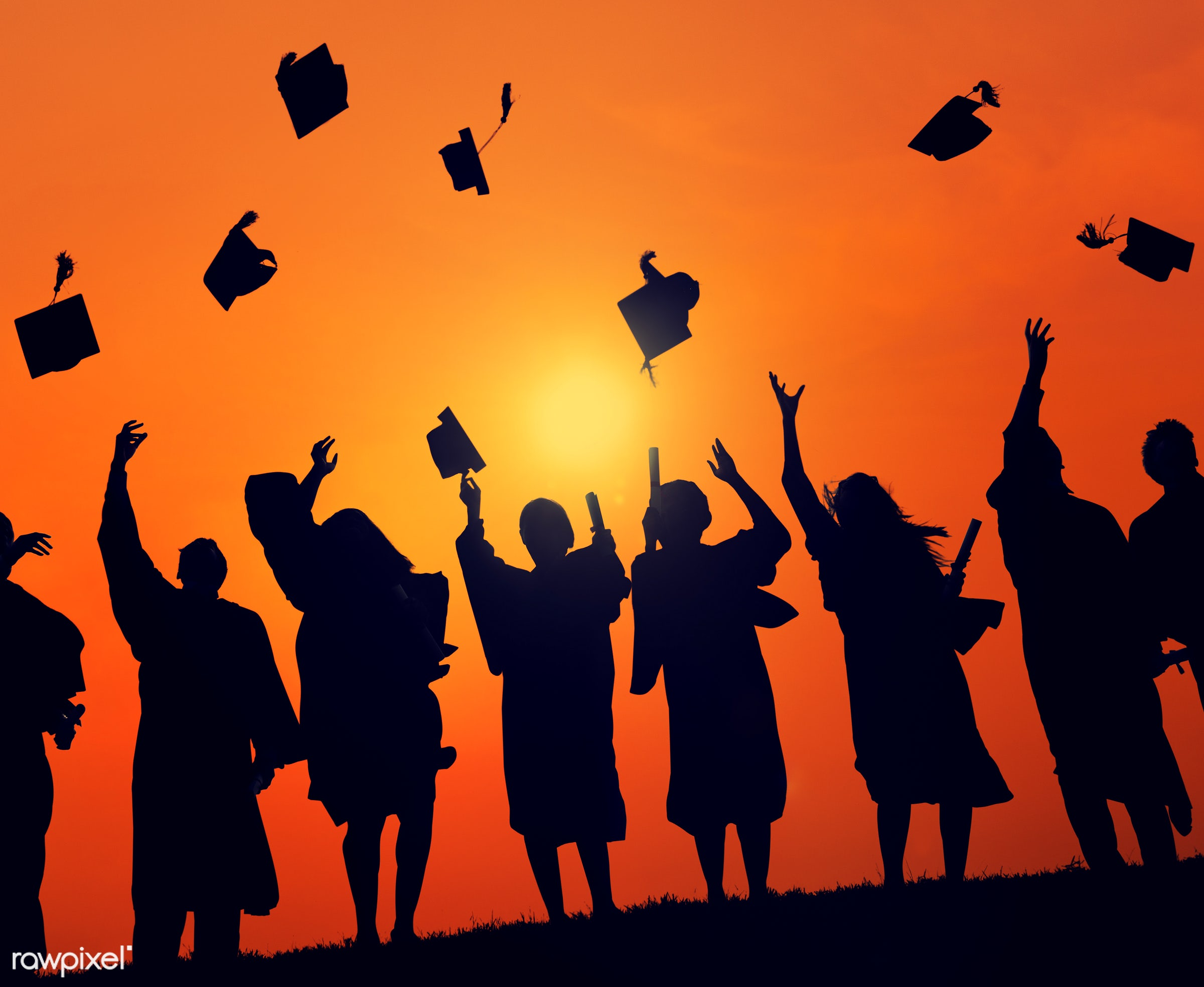 dusk, academic, achievement, backlit, campus, cap, celebration, ceremony, cheerful, college, dawn, degree, diploma,...