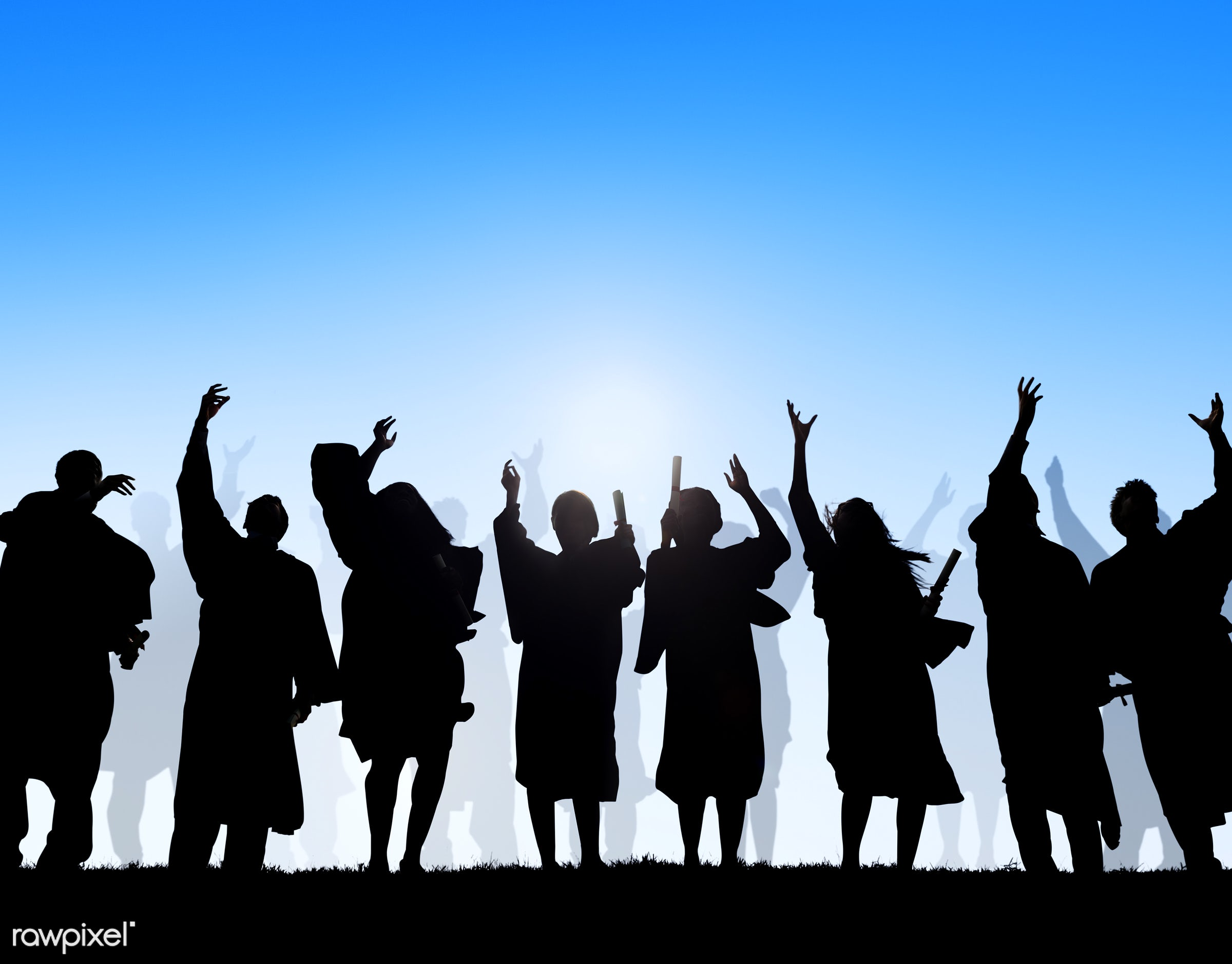 arms outstretched, arms raised, blue, celebration, cheerful, community, concepts, copy space, diploma, education, ethnicity...
