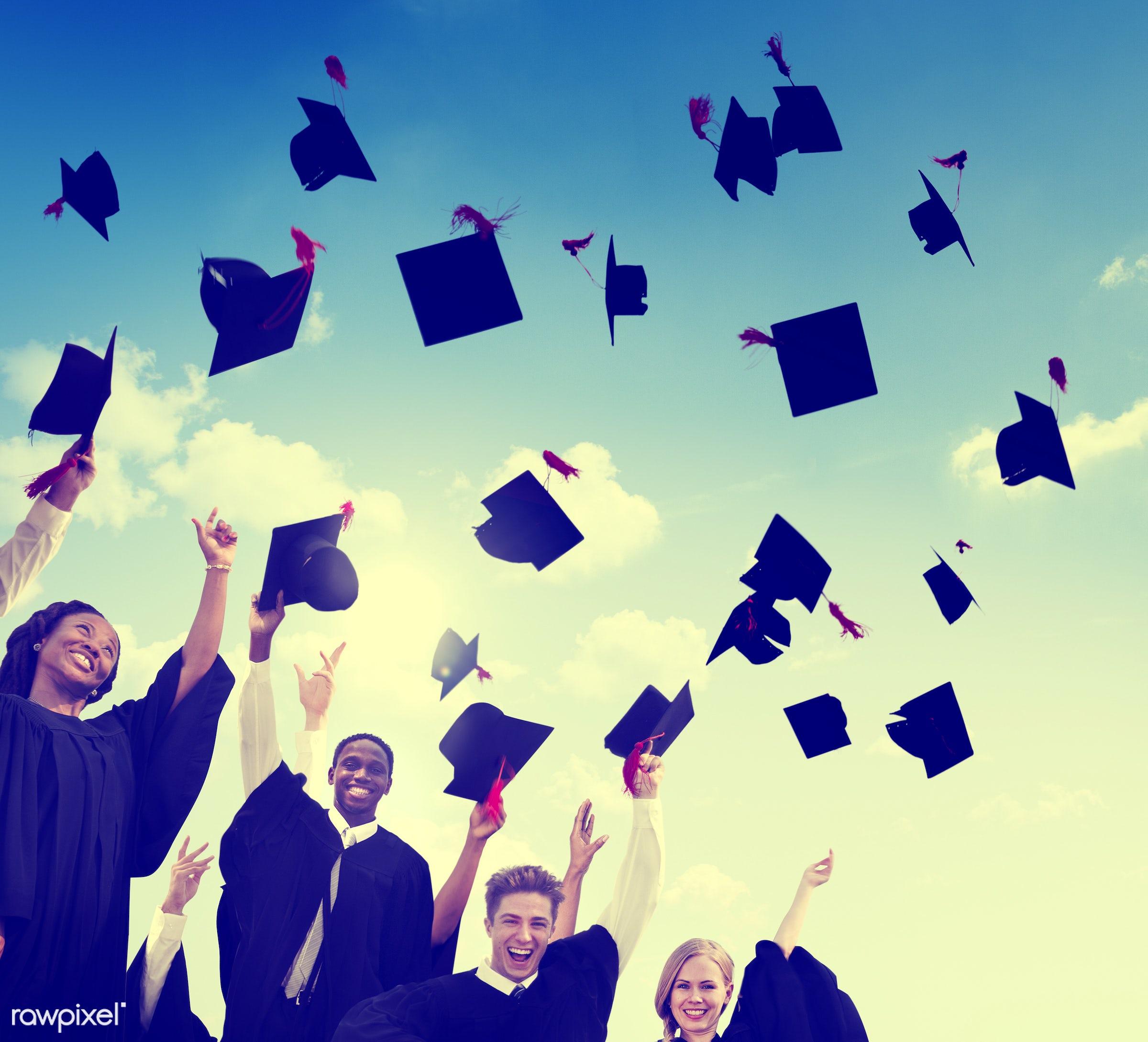 hat, academic, achievement, african, african descent, campus, cap, celebration, ceremony, cheerful, college, college student...