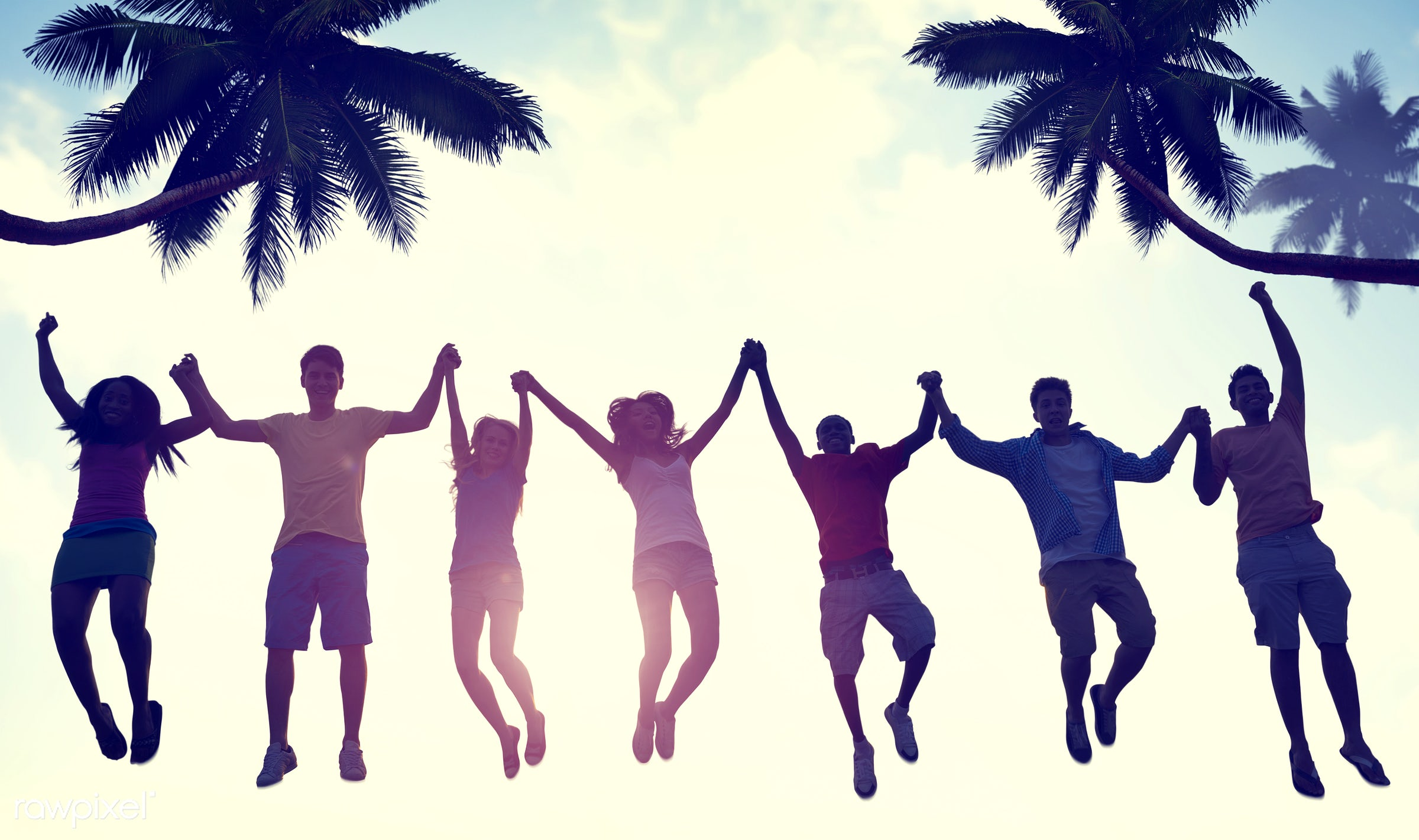 lifestyles, arms outstretched, arms raised, beach, celebration, cheerful, coconut palm tree, community, copy space, diverse...