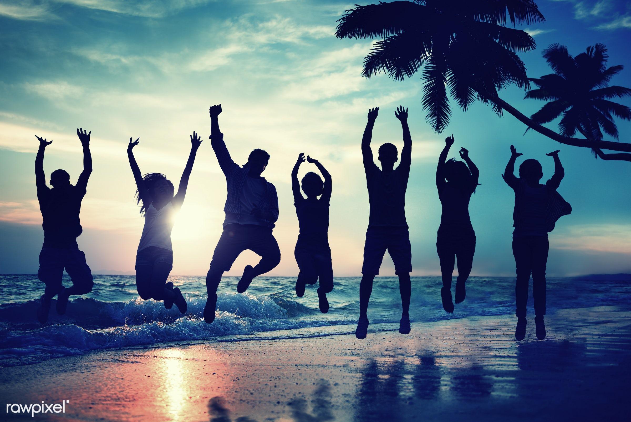 achievement, back lit, beach, care free, celebration, cheerful, concepts, diversity, ecstatic, enjoyment, excitement,...