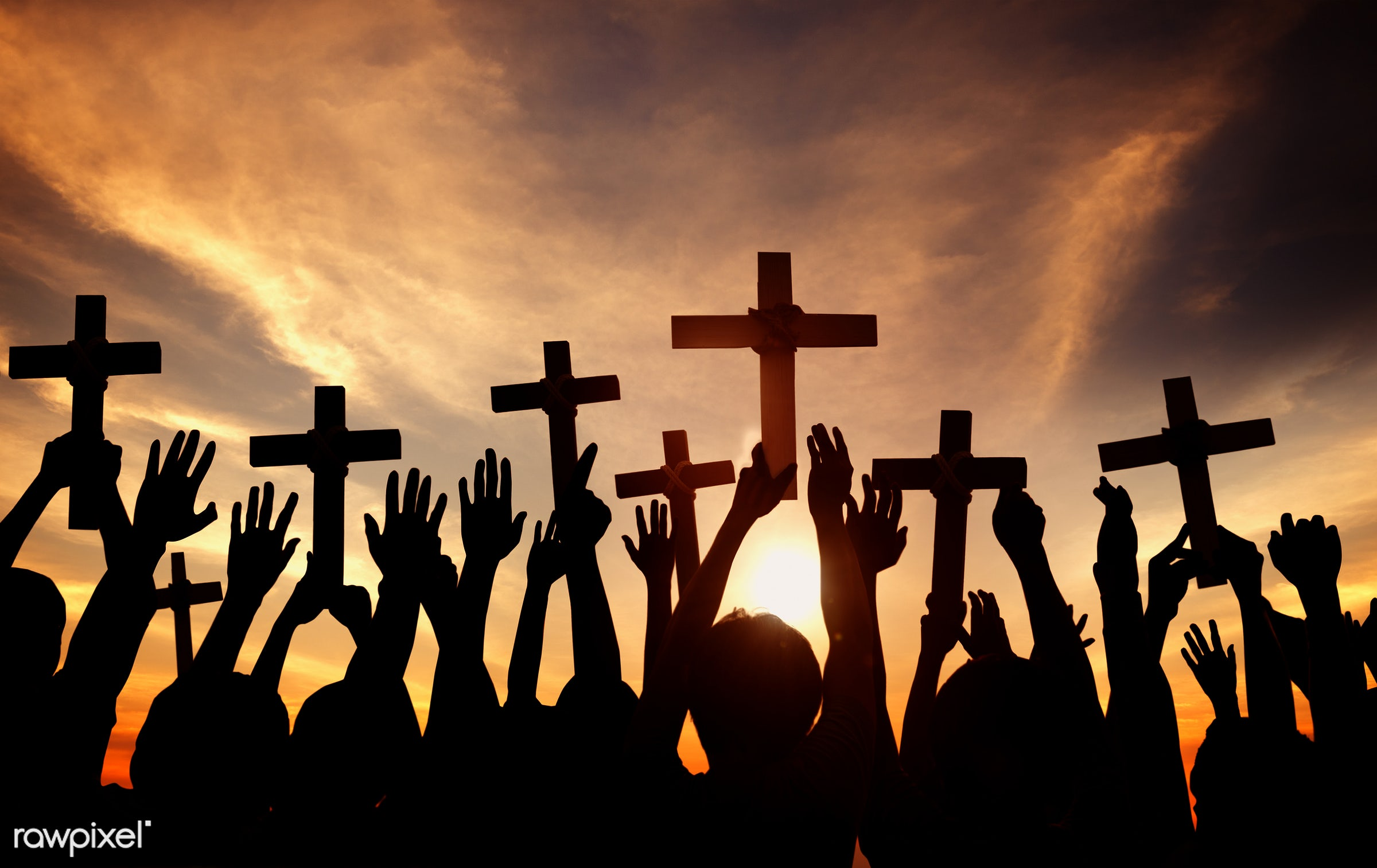 Silhouette of Christians holding crosses - believe, christian, cloud, god, religion, religious, sunset, applauding, arms...