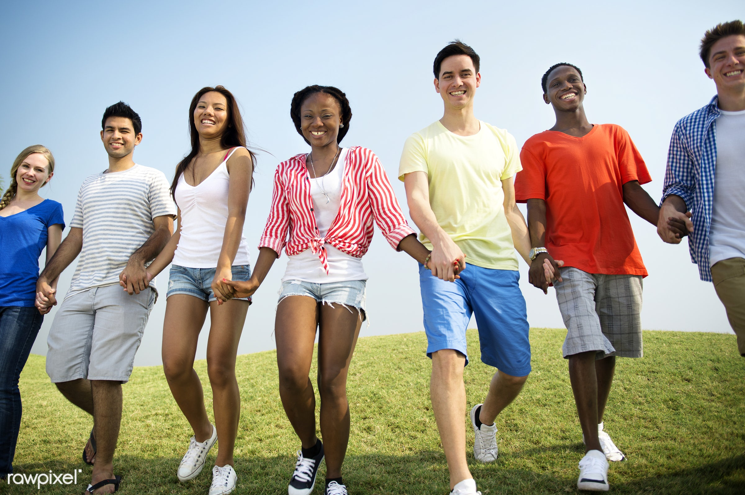 Happy diverse young people - african descent, allies, asian ethnicity, blue sky, casual, celebration, cheerful, colorful,...