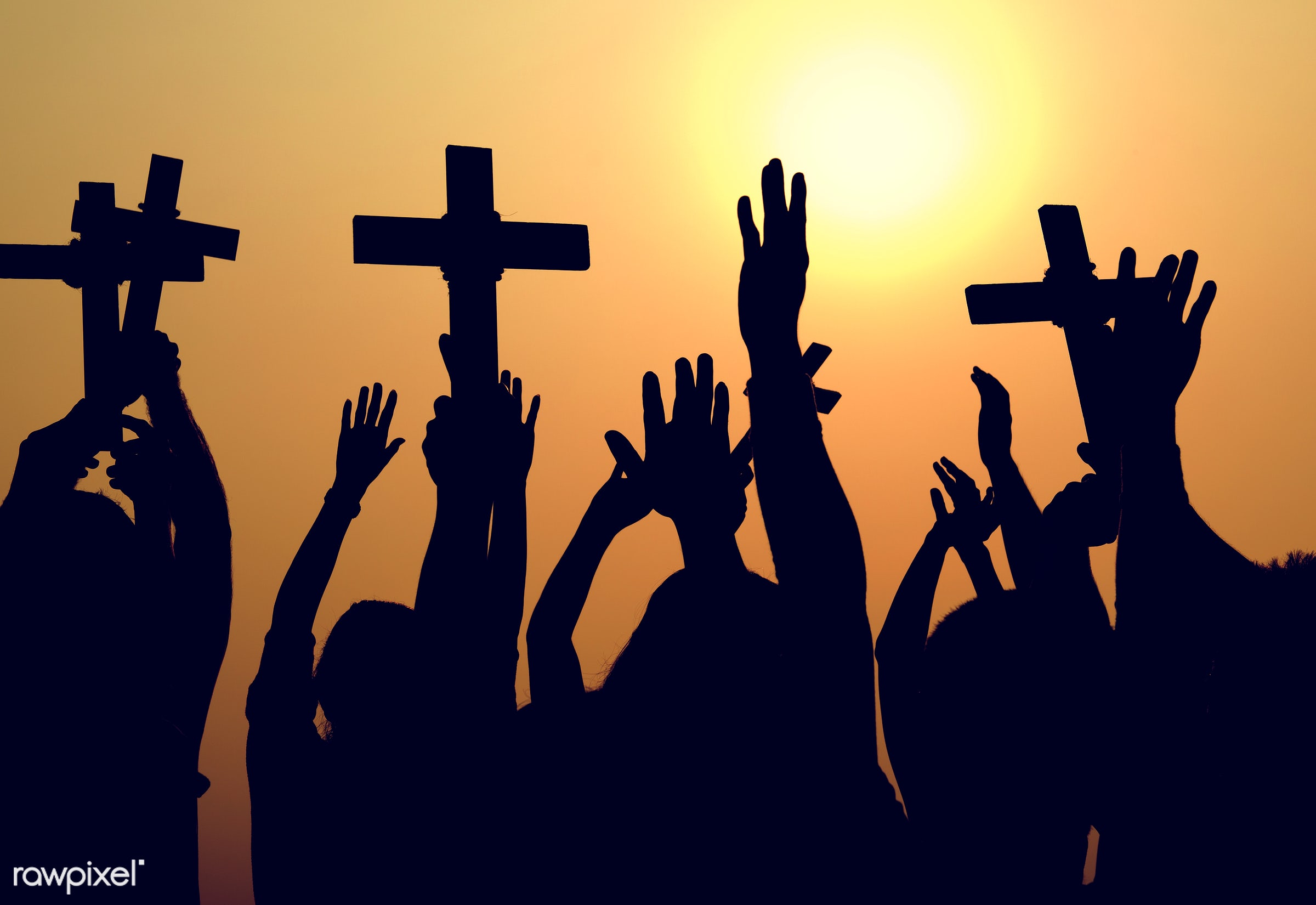 arms raised, back lit, belief, carefree, catholic, celebration, cheerful, christian, community, cross, crowd, culture,...