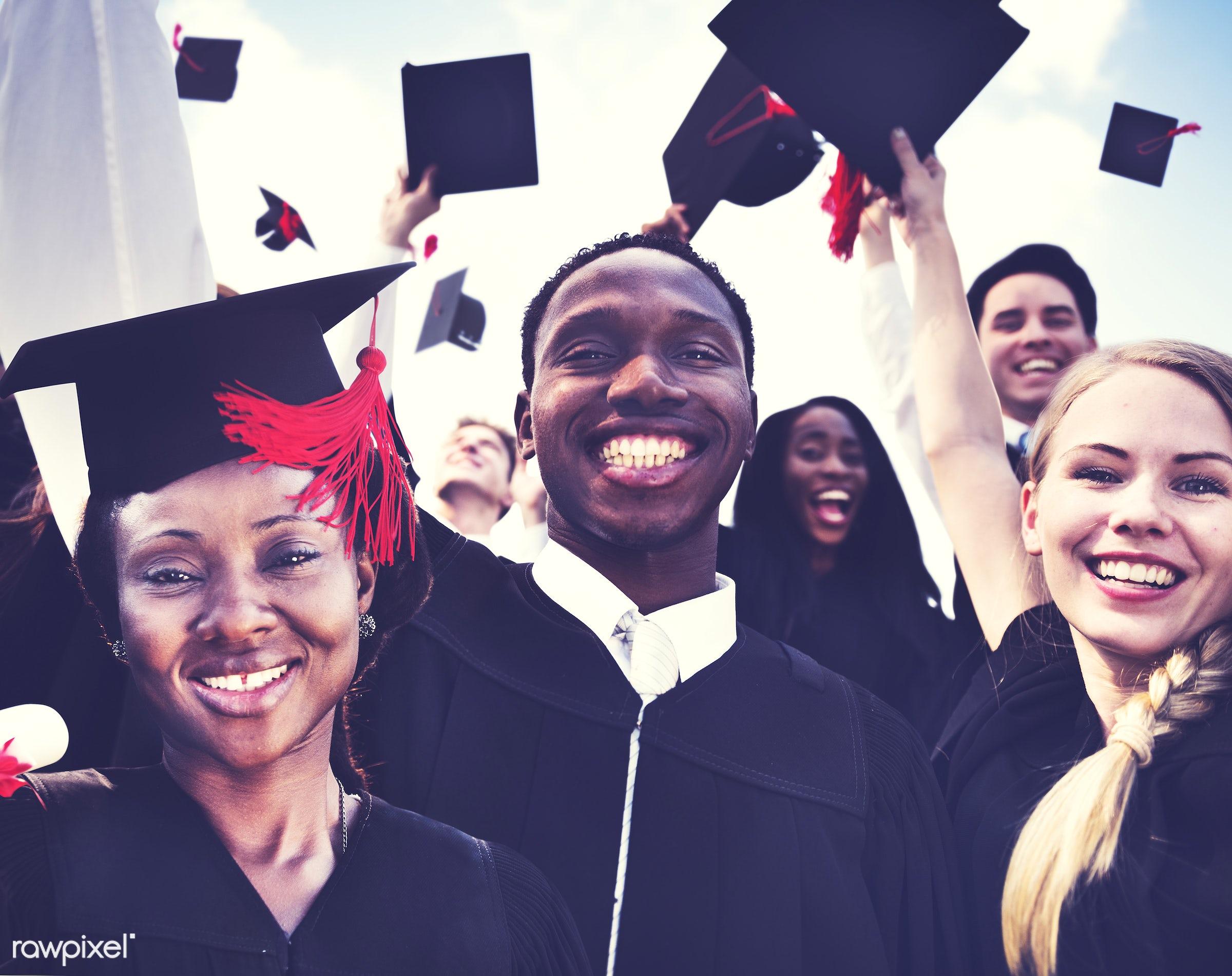 academic, achievement, african descent, asian ethnicity, campus, celebration, ceremony, cheerful, classmates, college,...