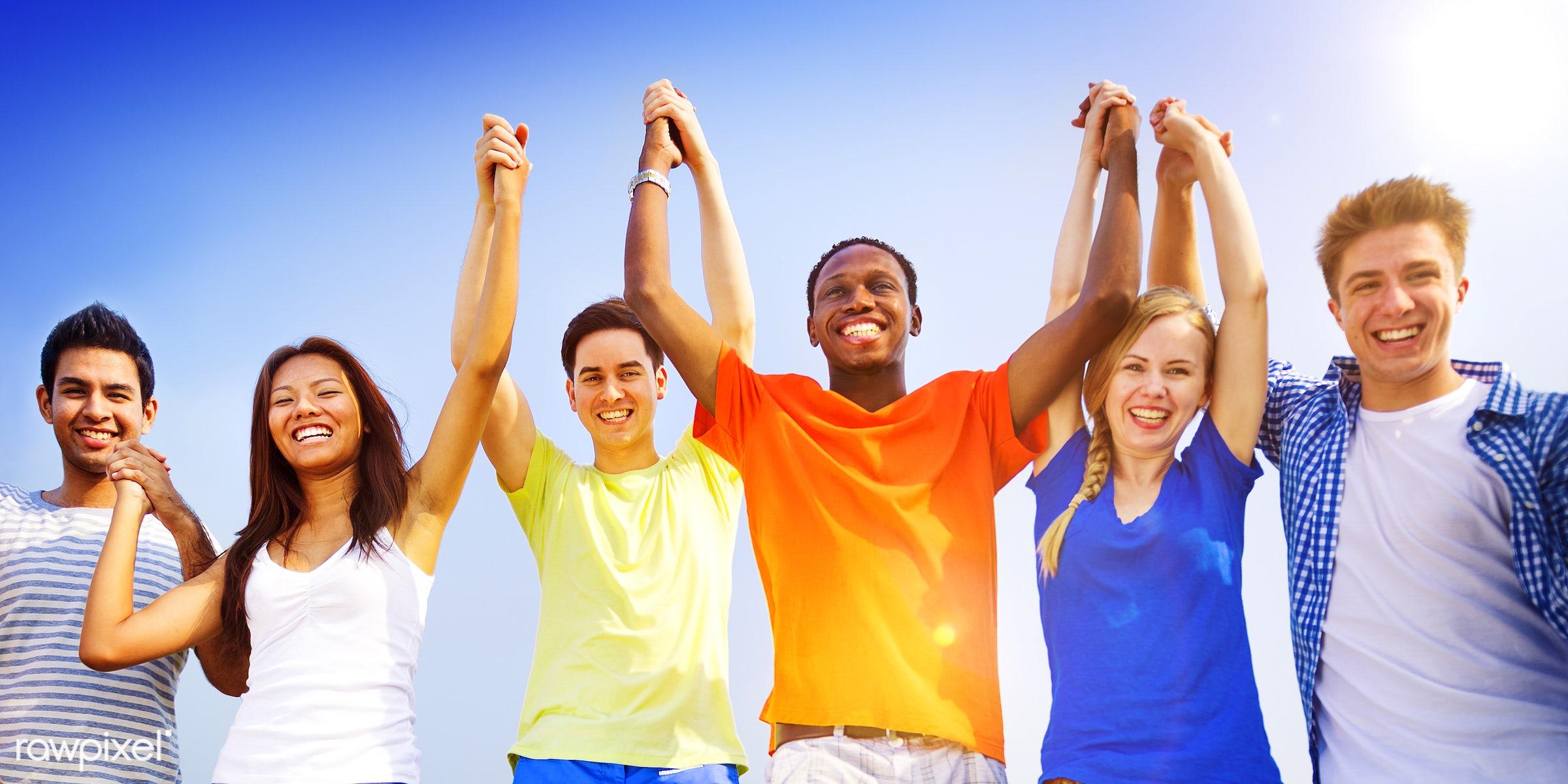 achieve, achievement, arms raised, celebration, cheerful, communication, community, concepts, connection, freedom,...