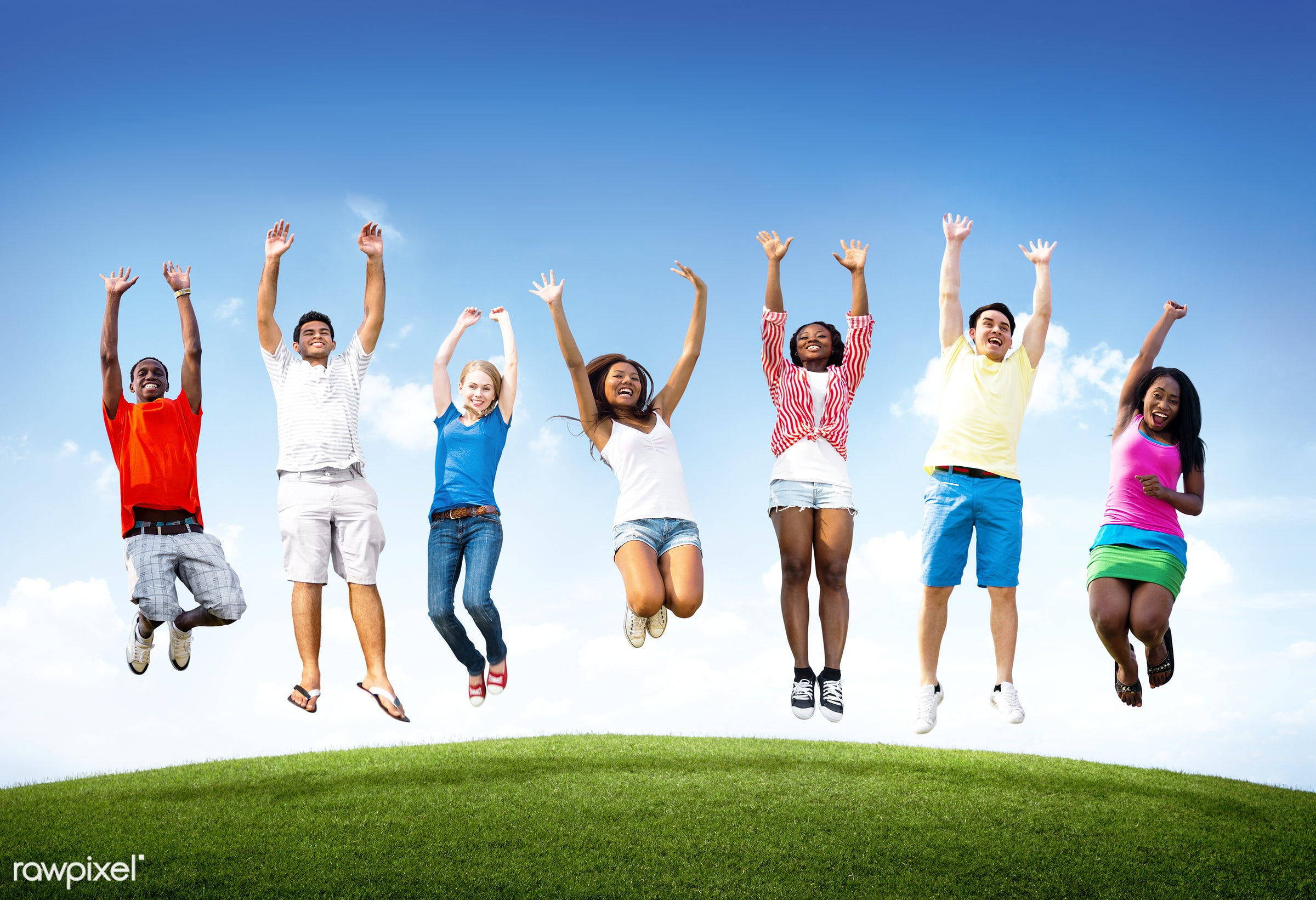 Happy diverse young people jumping - african descent, airborne, arms raised, asian ethnicity, blue sky, casual, celebration...