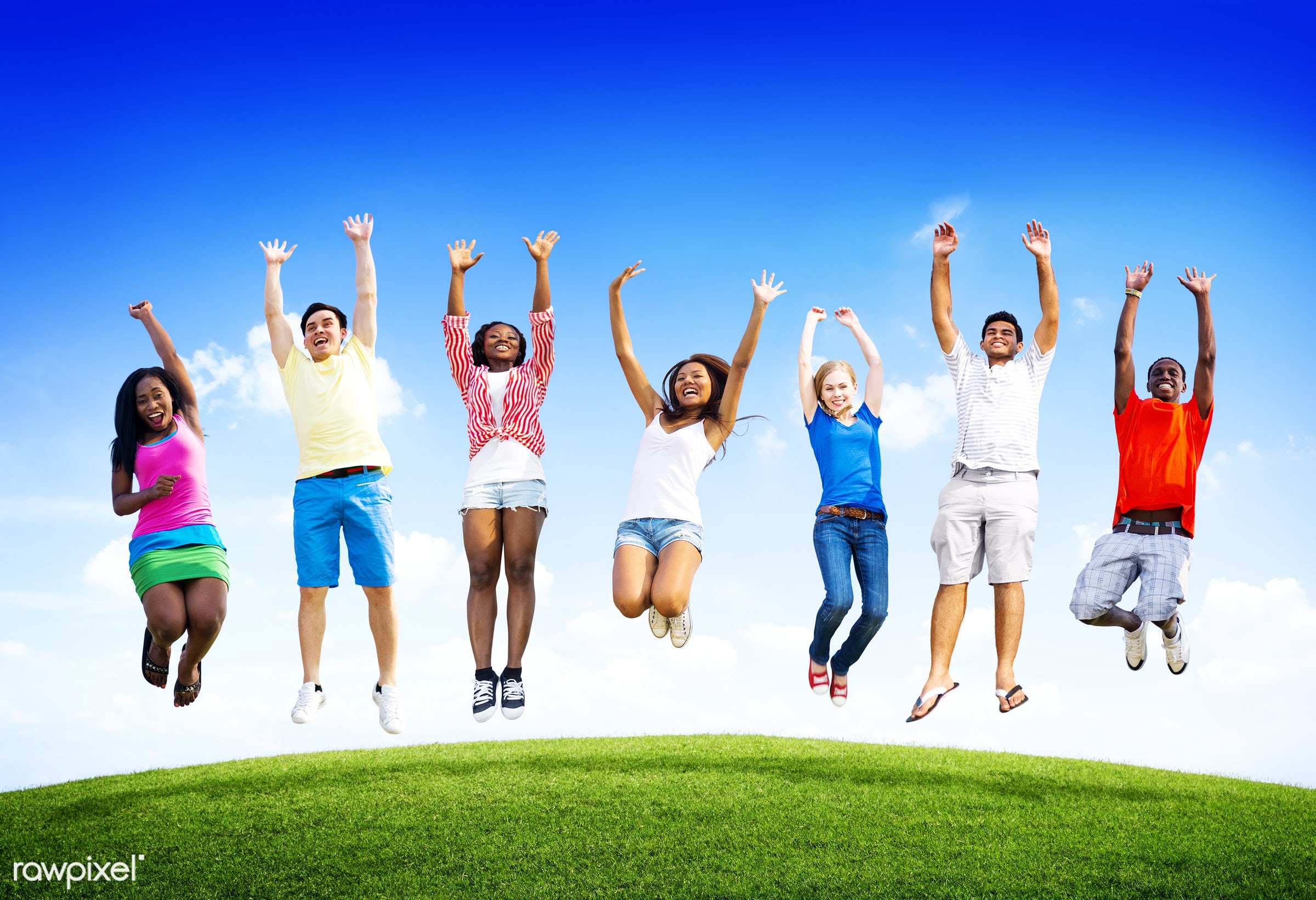african descent, airborne, arms raised, asian ethnicity, blue sky, casual, celebration, cheerful, colorful, community,...