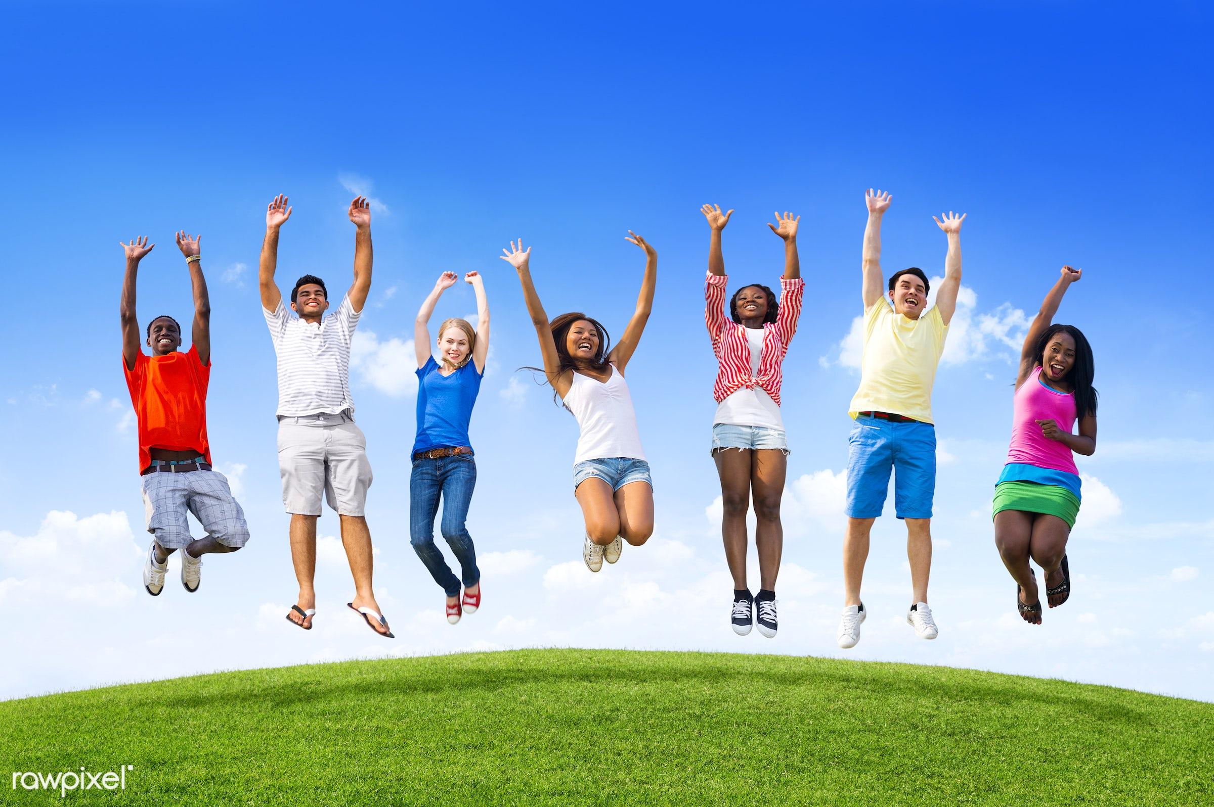 arm raised, asian, black, blue sky, caucasian, celebration, cheerful, clear sky, cloud, community, confident, ecstatic,...