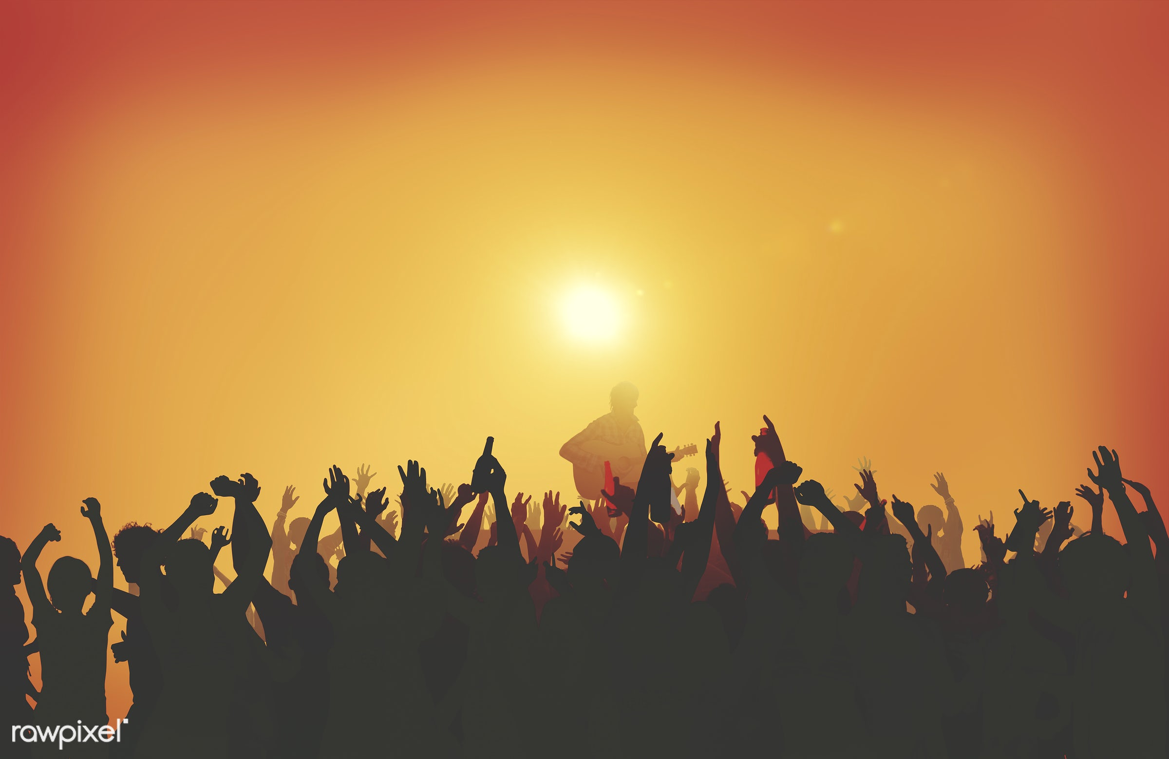 Silhouette of a music concert at sunset - concert, sunrise, party, youth, crowd, music, dancing, singing, musician,...