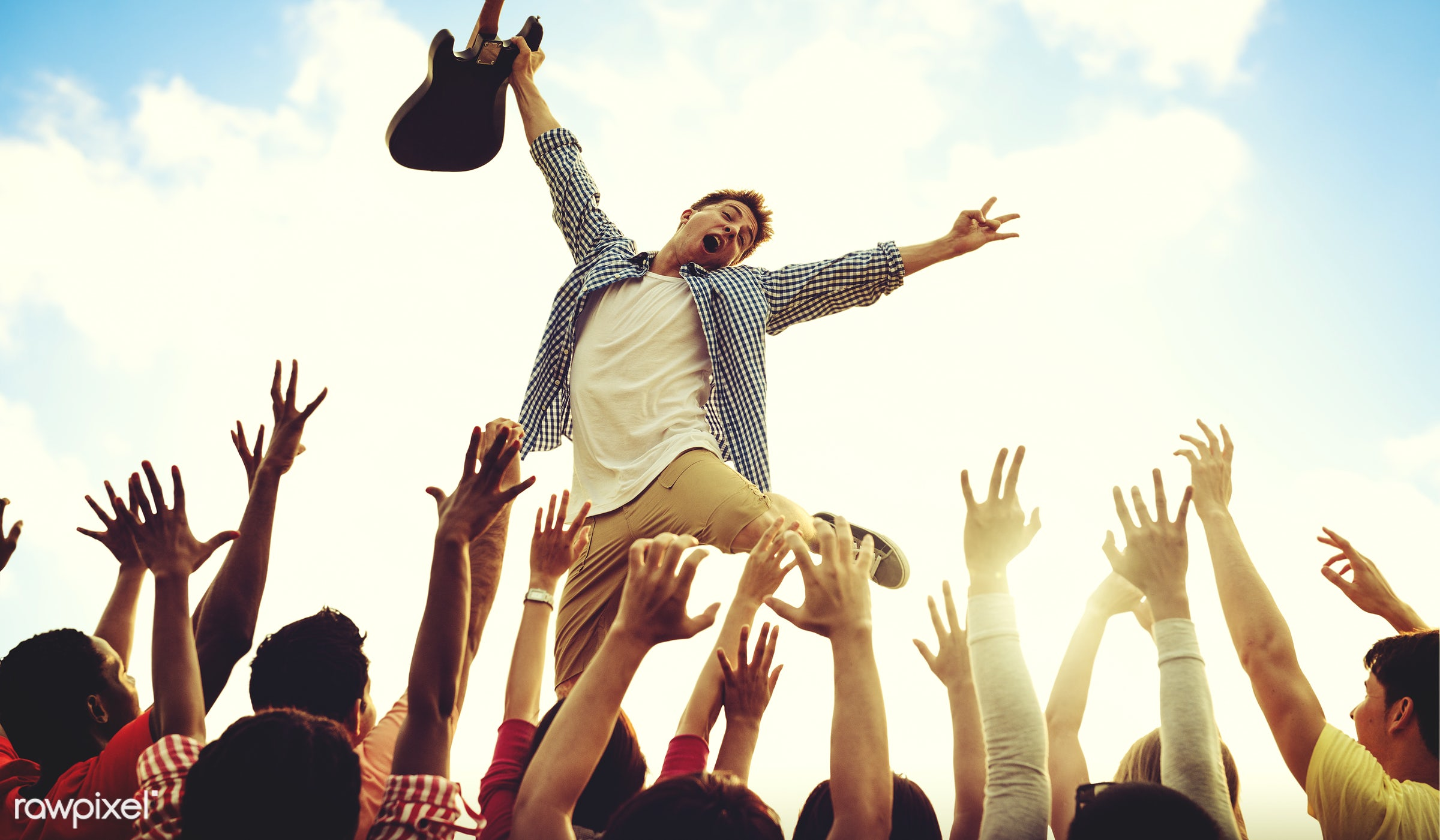 adolescence, arms raised, audience, carefree, celebration, cheerful, cloud, communication, community, concert, crowd,...