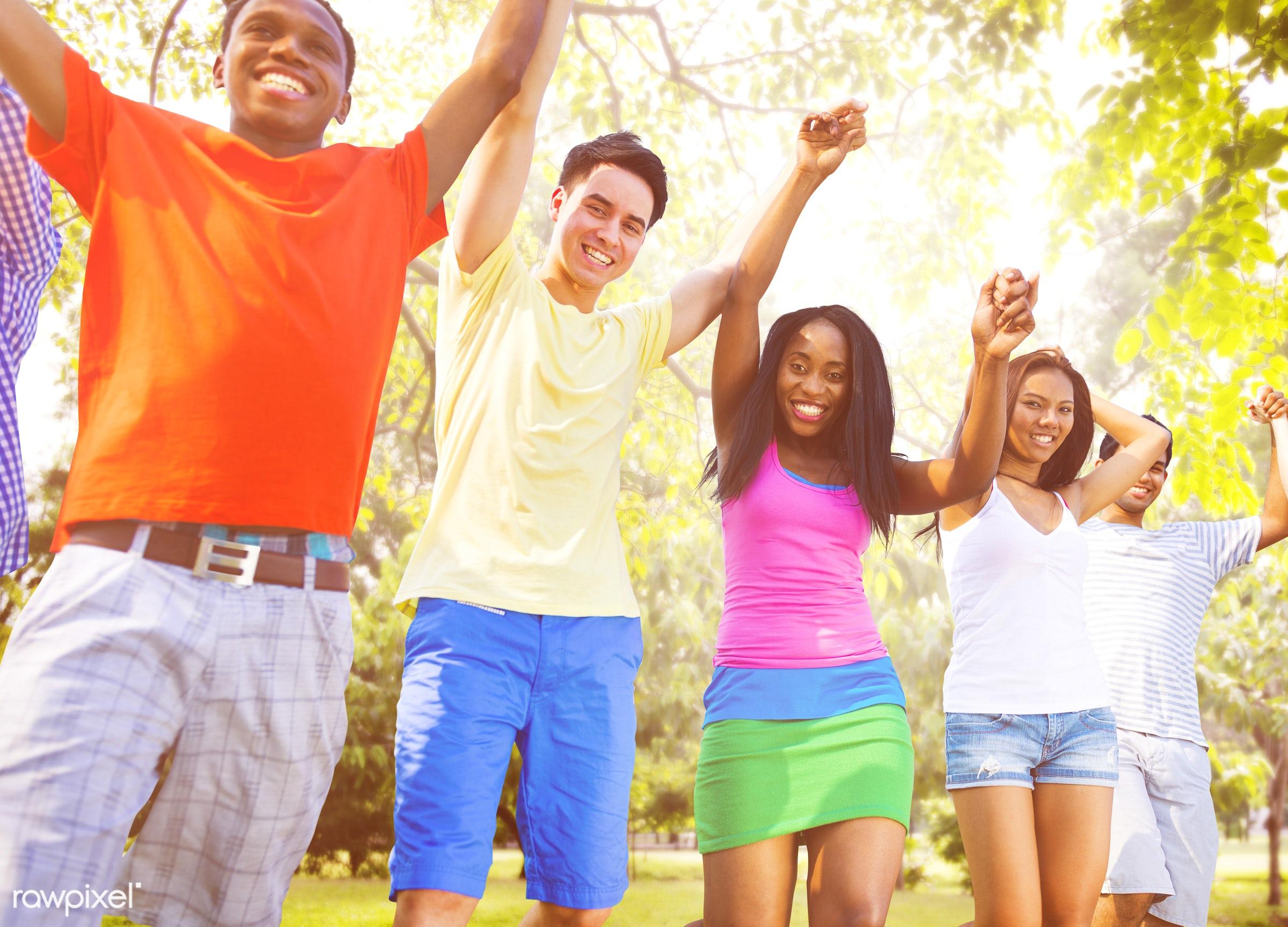achievement, arms raised, celebration, cheerful, communication, community, connection, field, freedom, friendship, fun,...