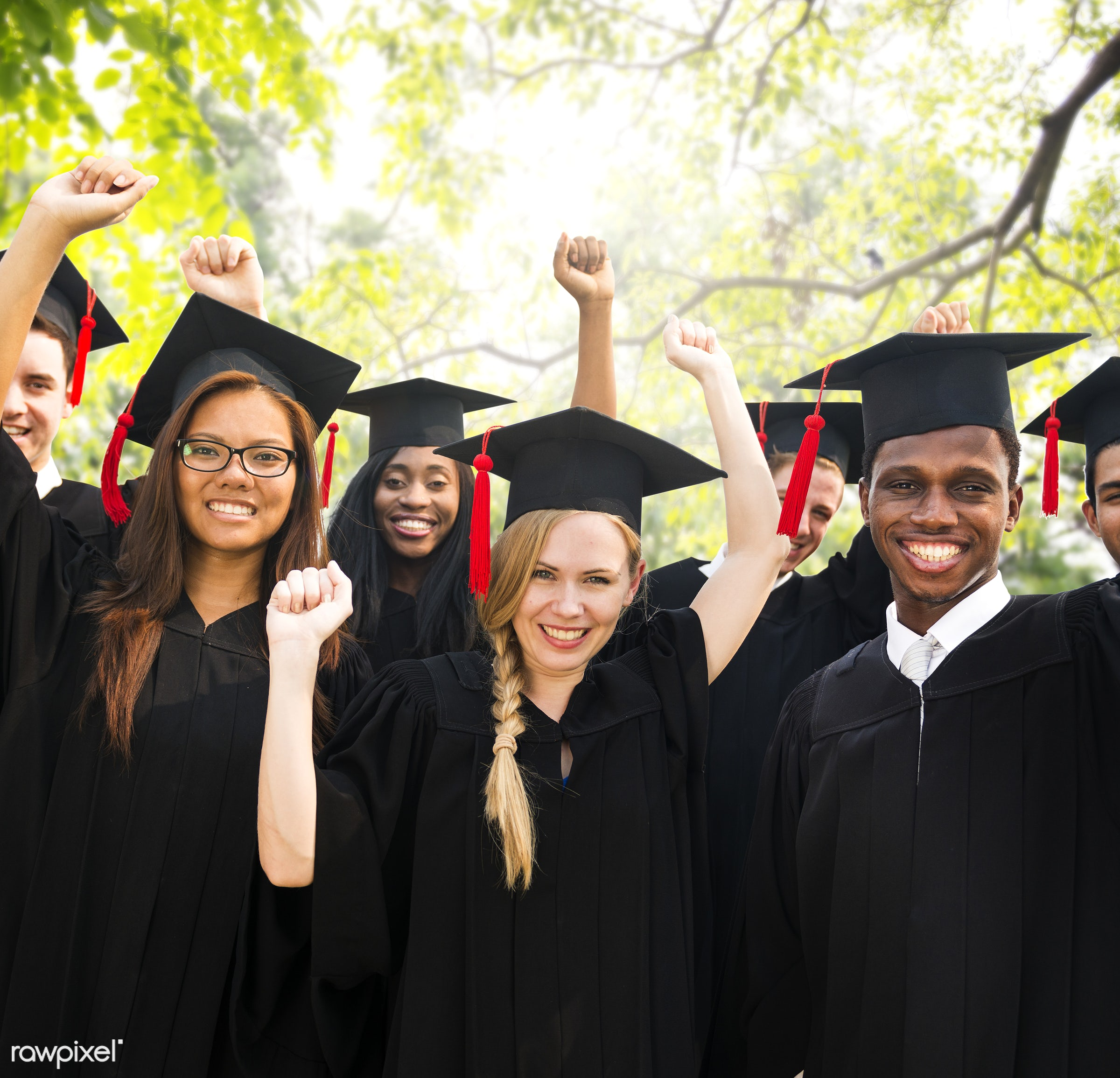 achievement, african descent, arms outstretched, arms raised, asian ethnicity, cap, celebration, ceremony, certificate,...