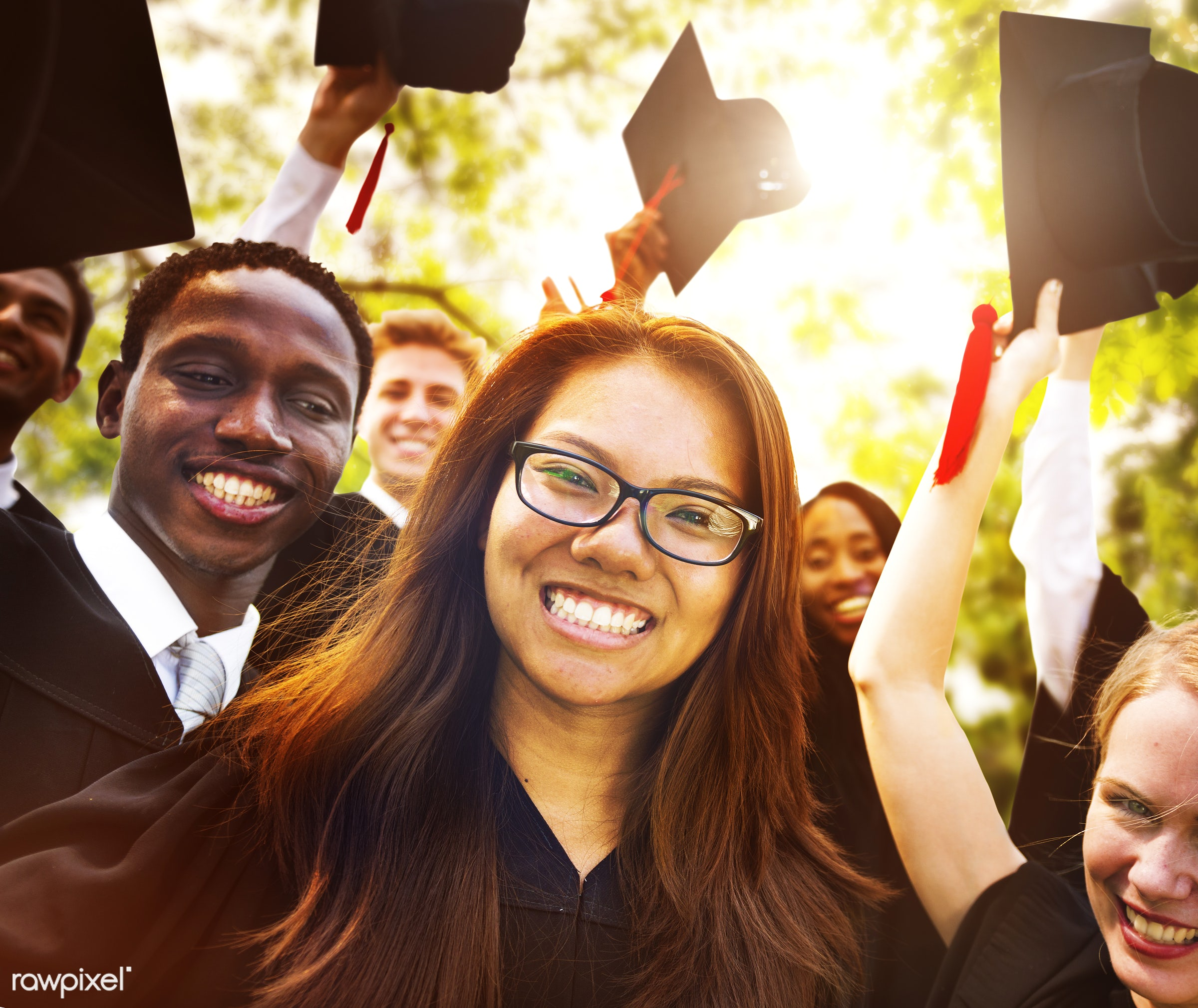 academic, achievement, african descent, asian ethnicity, campus, celebration, ceremony, certificate, cheerful, college,...