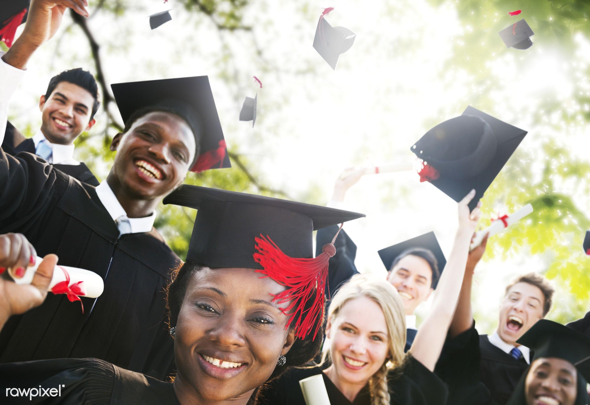 achievement, african descent, asian ethnicity, cap, celebration, ceremony, certificate, cheerful, college, college student,...