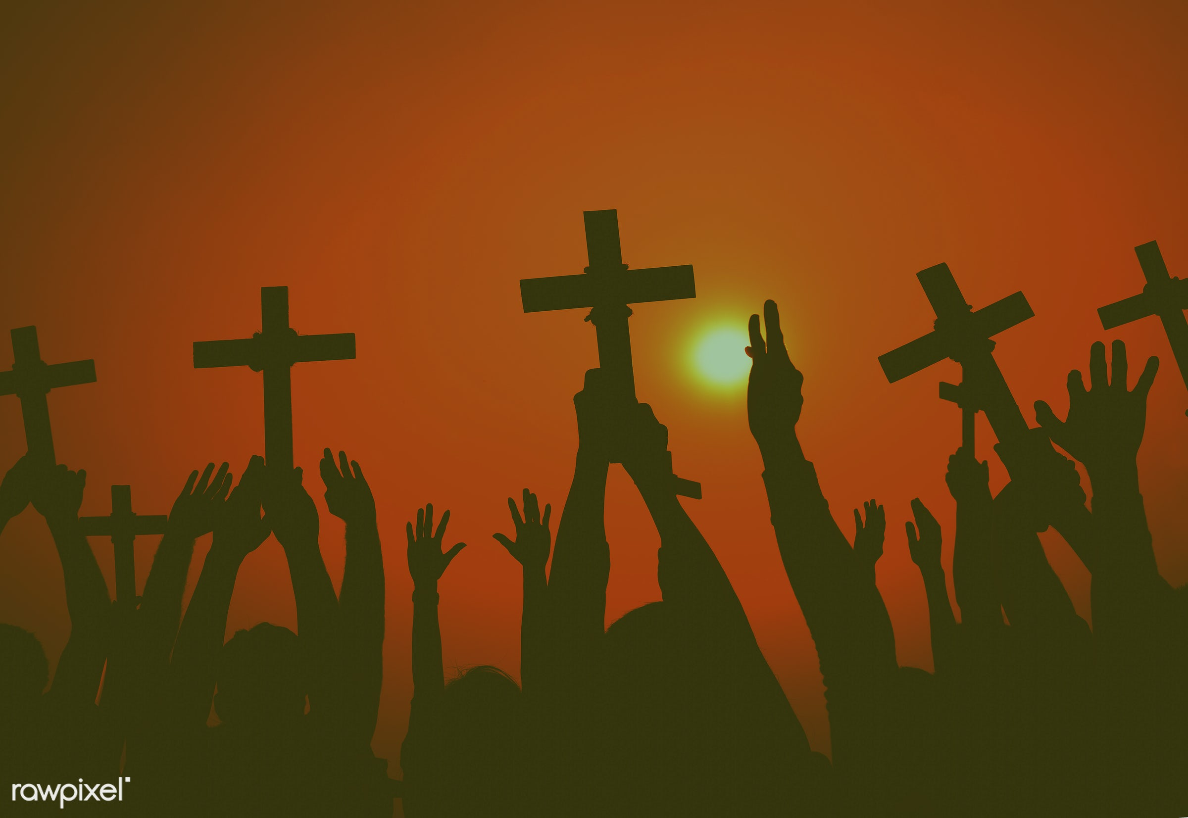 death, easter, sunset, arm raised, aspiration, bowing, catholicism, cemetery, christianity, concepts and ideas, connect,...