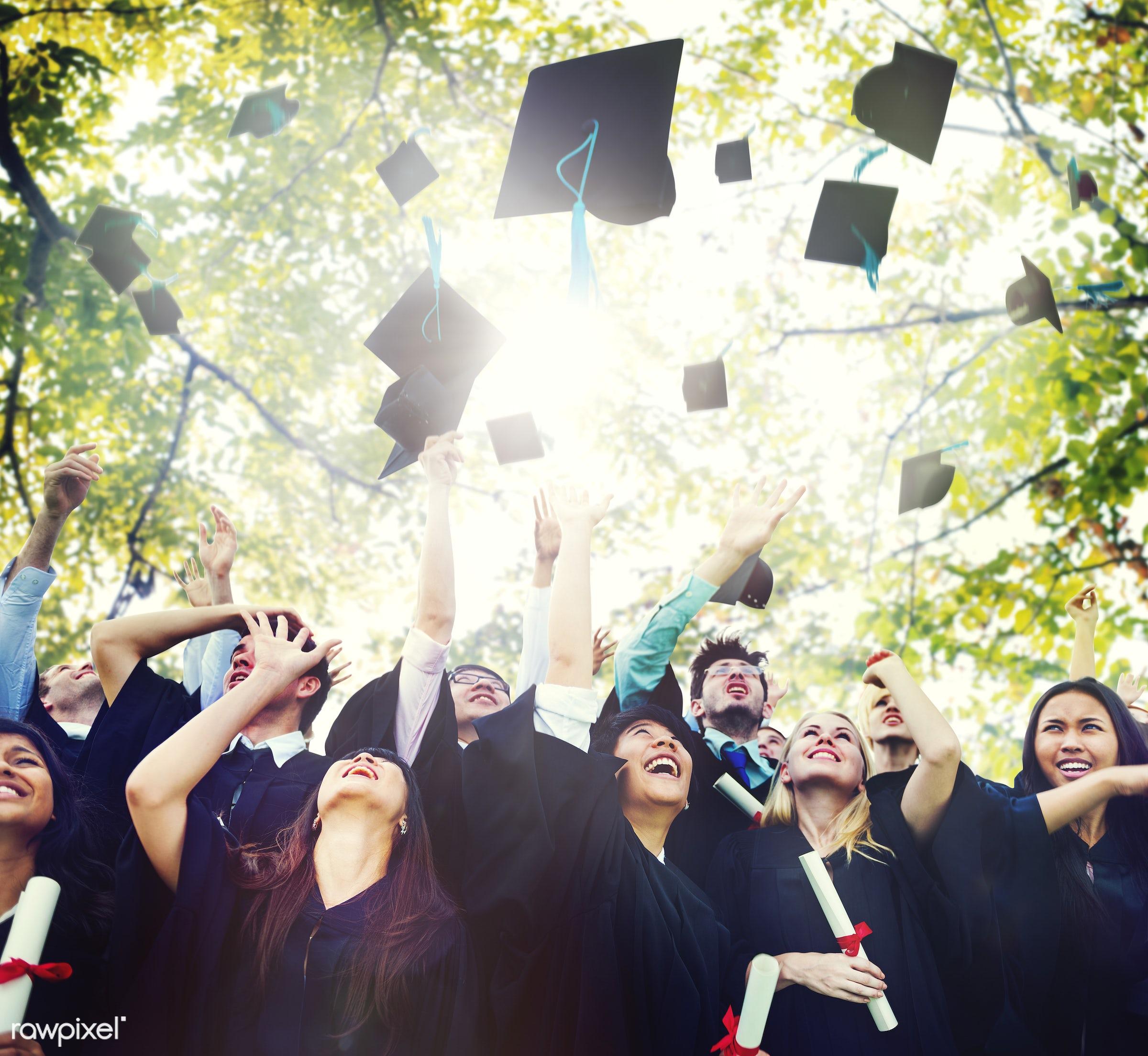graduation, university, graduate, education, school, student, achievement, african descent, asian ethnicity, cap,...