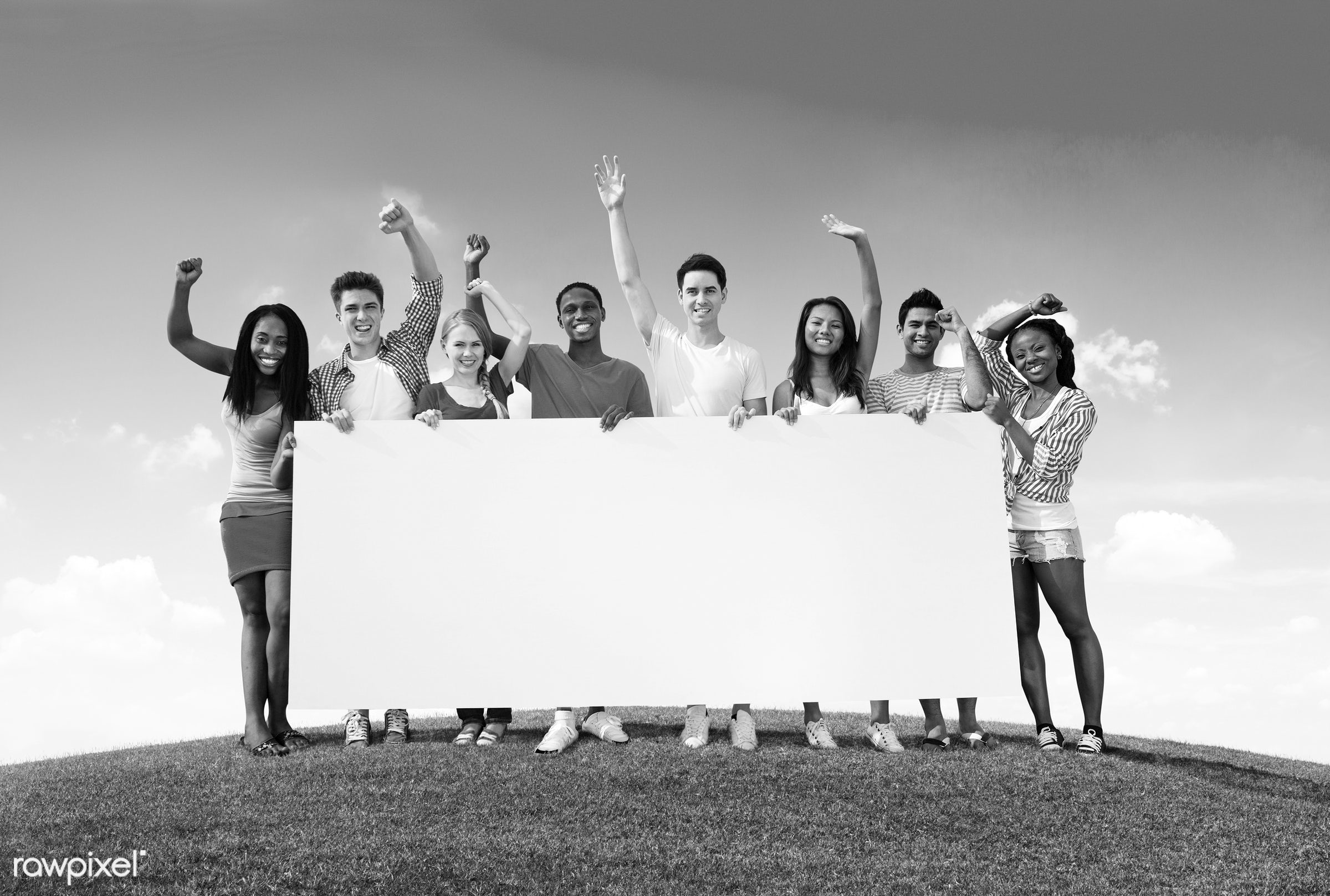 casual, cheerful, success, community, group of people, happiness, caucasian, placard, teamwork, white, team, people, blue...